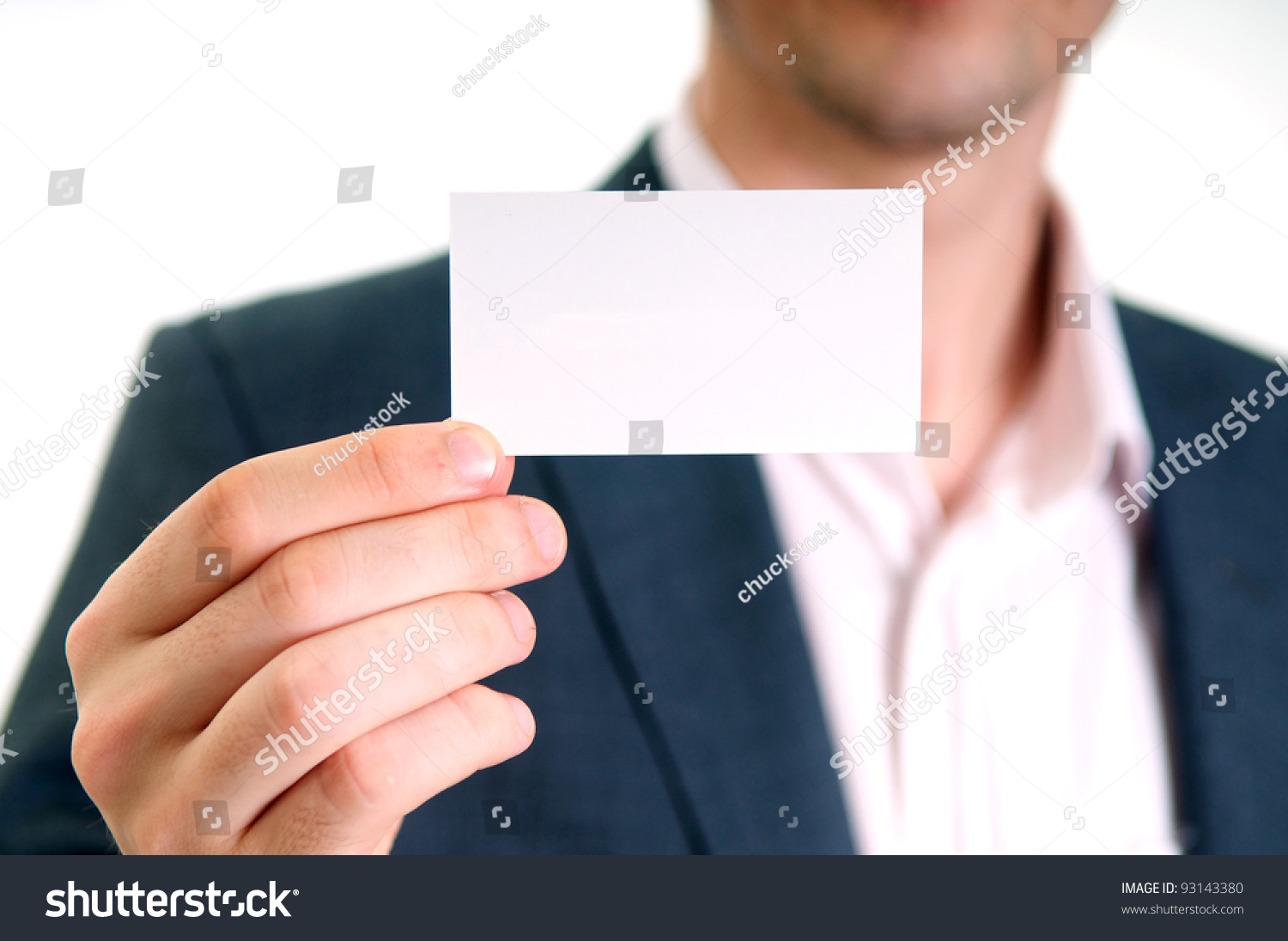 Professional Young Man Holding Business Card Stock Photo (Royalty ...