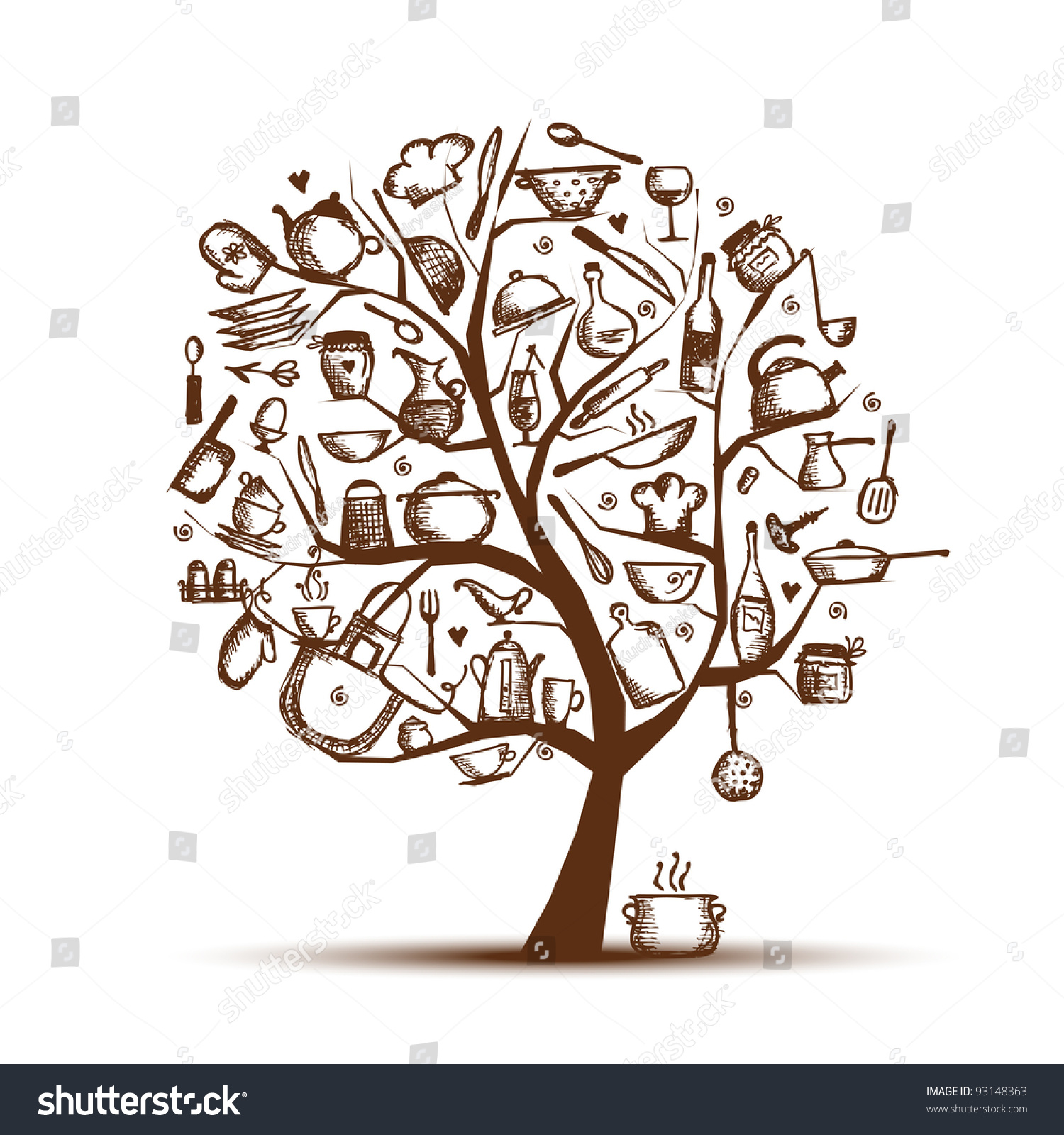 The Kitchen Sink Art Drawing Sketch Sketchbook By: Art Tree Kitchen Utensils Sketch Drawing Stock Vector