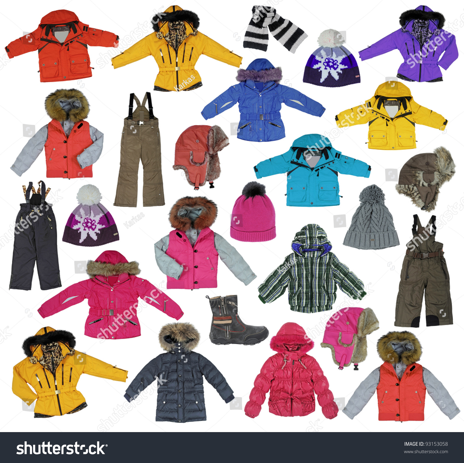 Collection childrens winter clothing stock photo 93153058 shutterstock Mla winter style fashion set