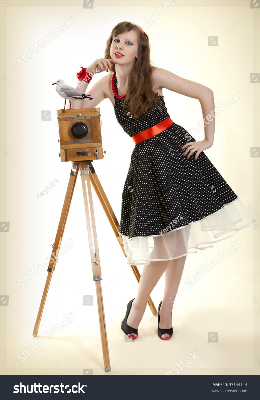 Pin-Up Girl And Vintage Camera Stock Photo 93154144 ...