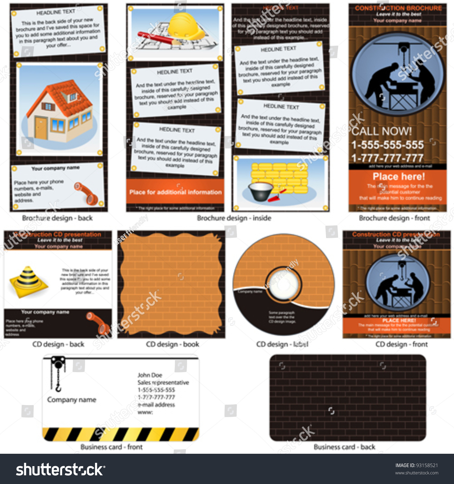 Construction Stationary Brochure Design CD Cover Stock Vector ...