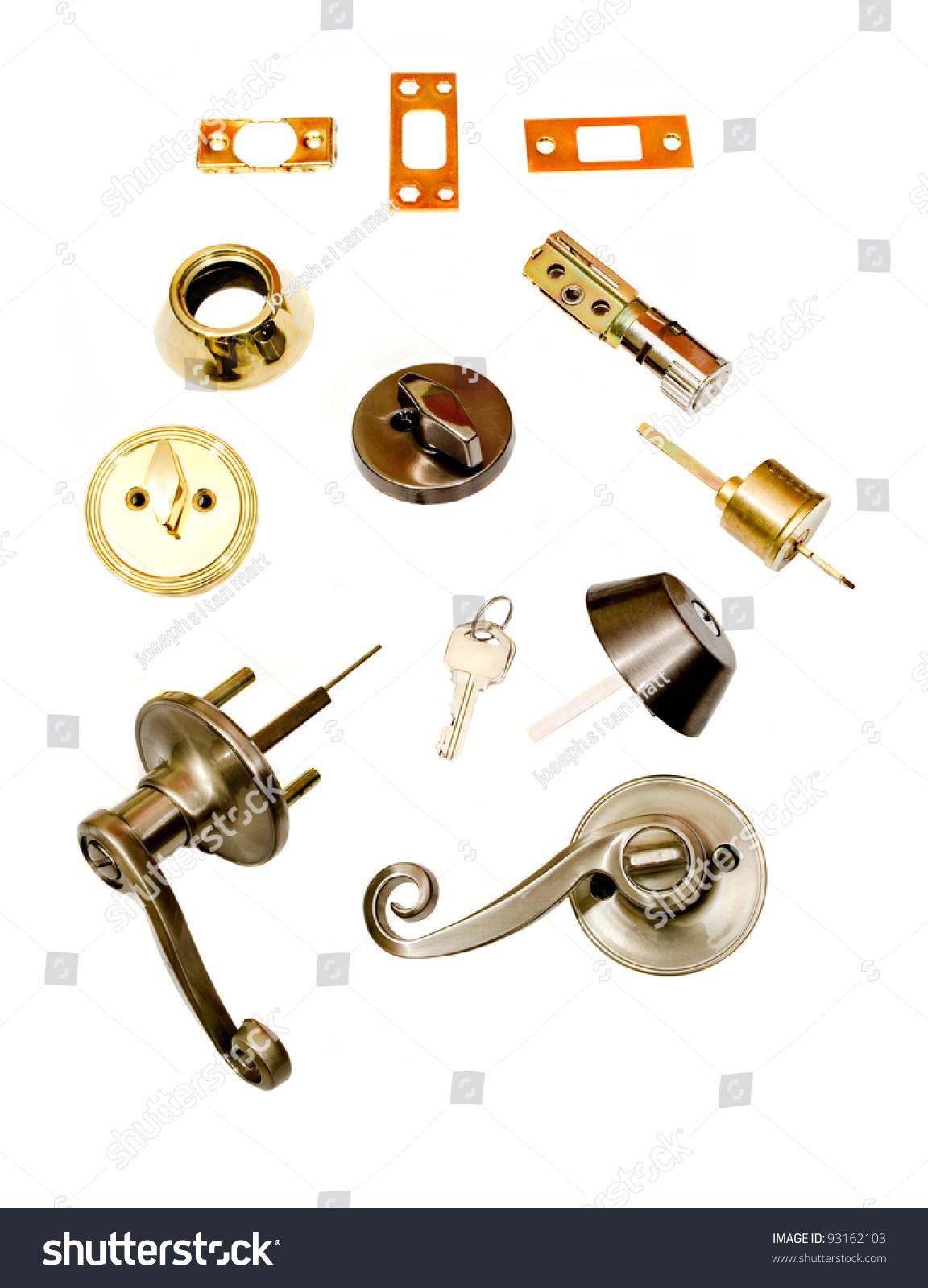 locksmith installation deadbolt parts door latch stock photo