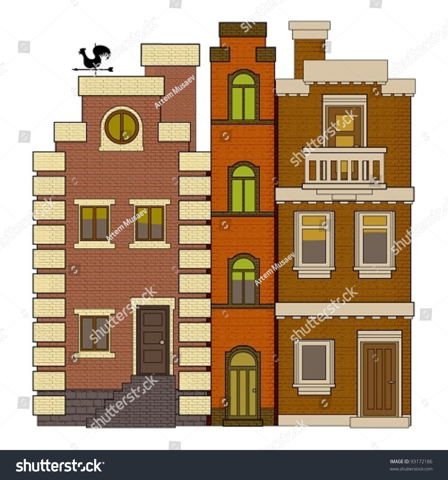 old fashioned houses stock vector 93172186 - shutterstock