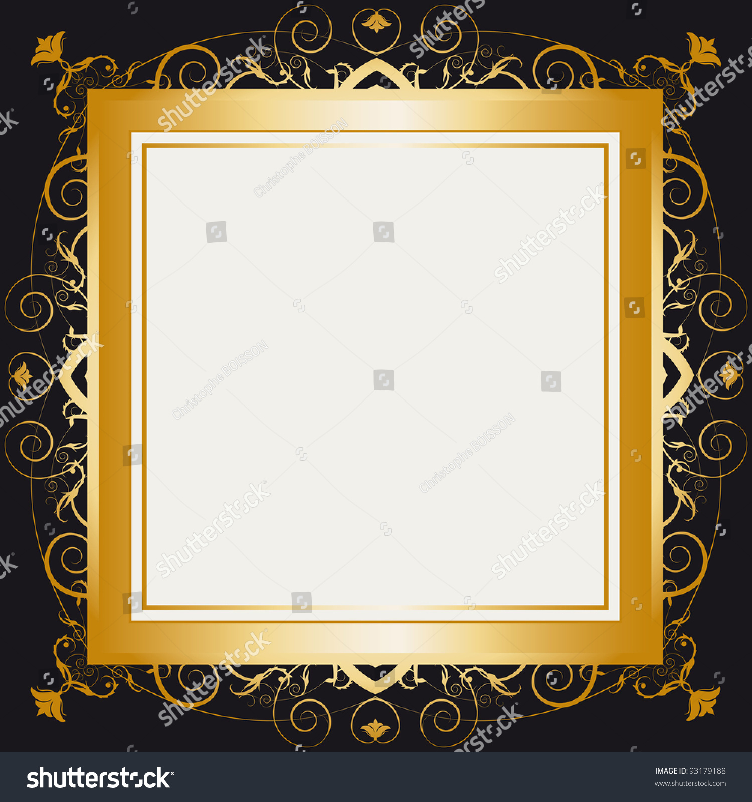 square gold frame a frame with a large space for your message