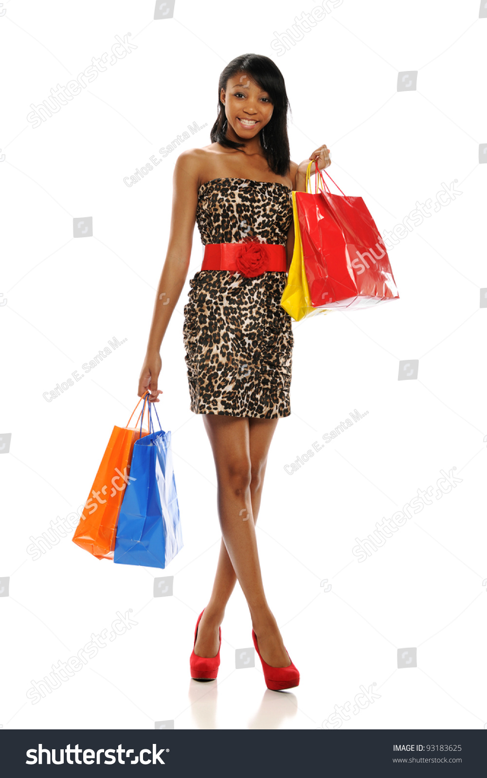 Woman posing with shopping bags isolated on white background full - Young Black Woman With Shopping Bags Isolated On A White Background