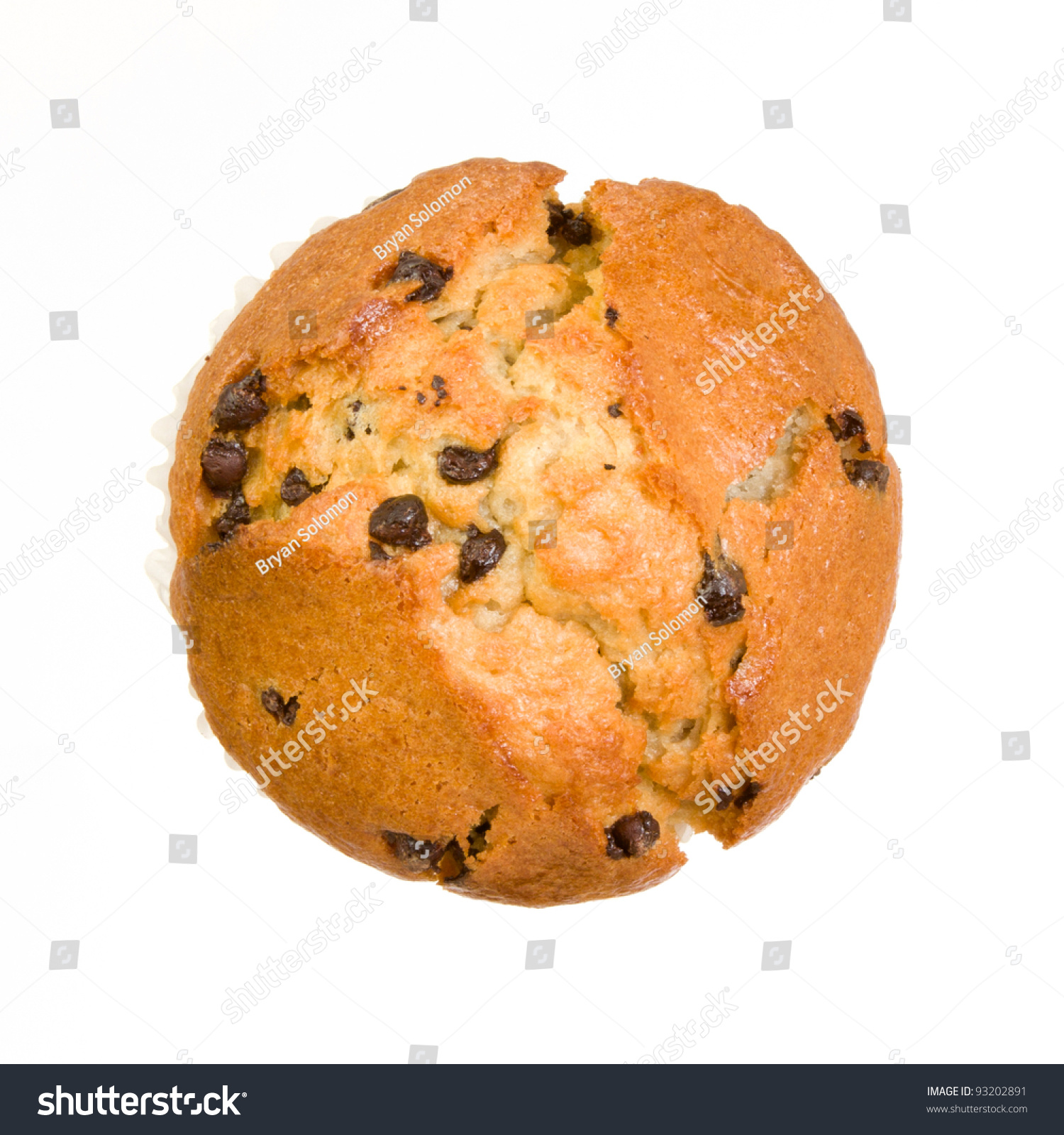 Chocolate Chip Muffin From Top View Isolated On A White Background
