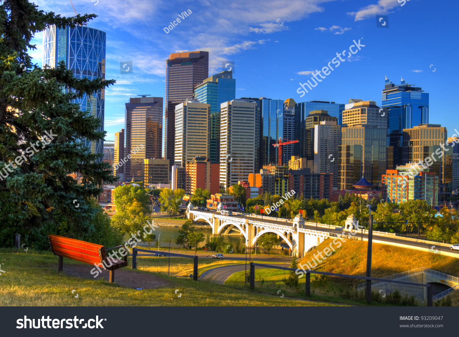 Hdr Park Bench Overlooking Skyscrapers Calgary Stock Photo 93209047 Shutterstock