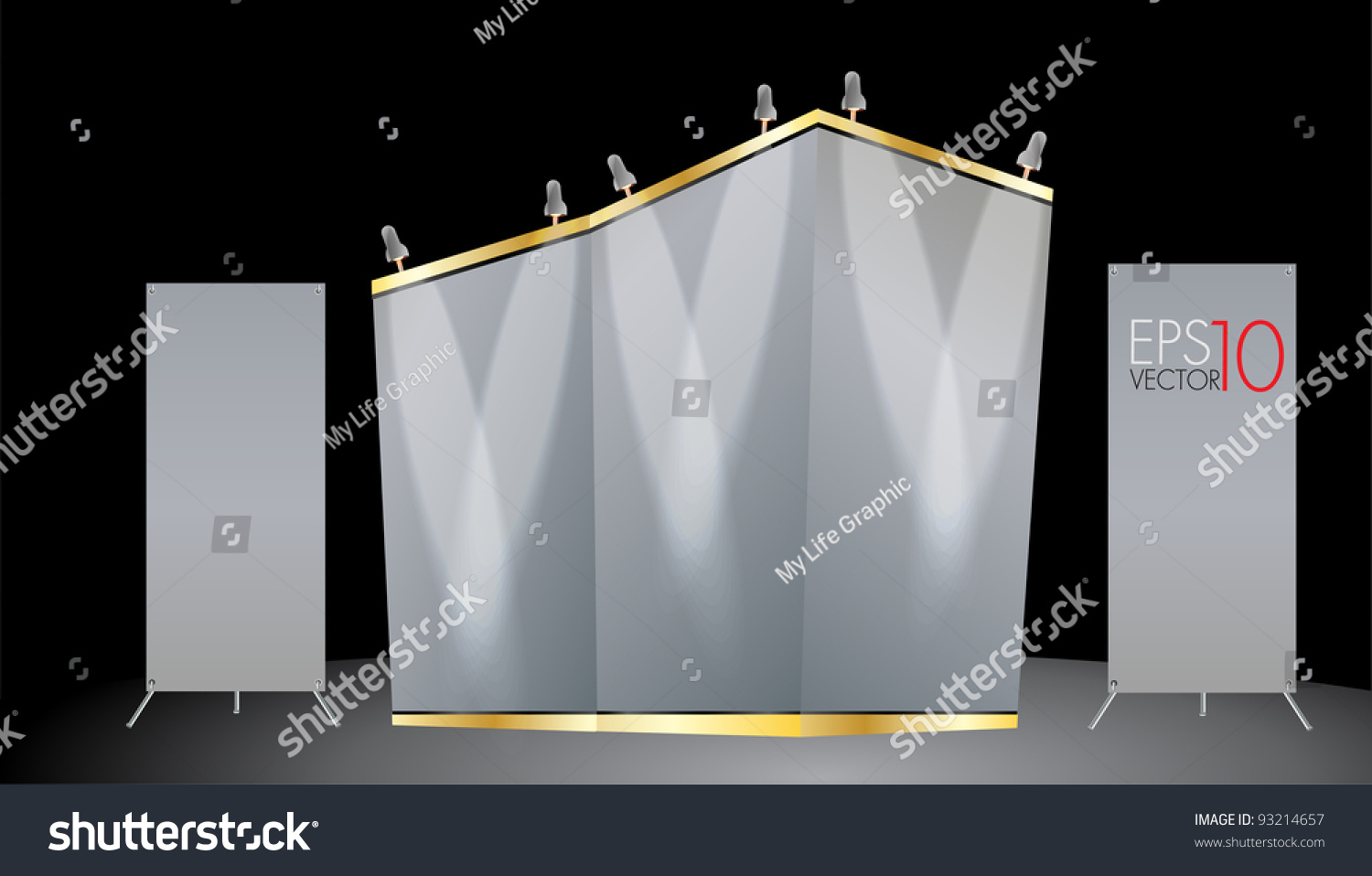 Simple Exhibition Stand Vector : Blank trade exhibition stand vector template for design