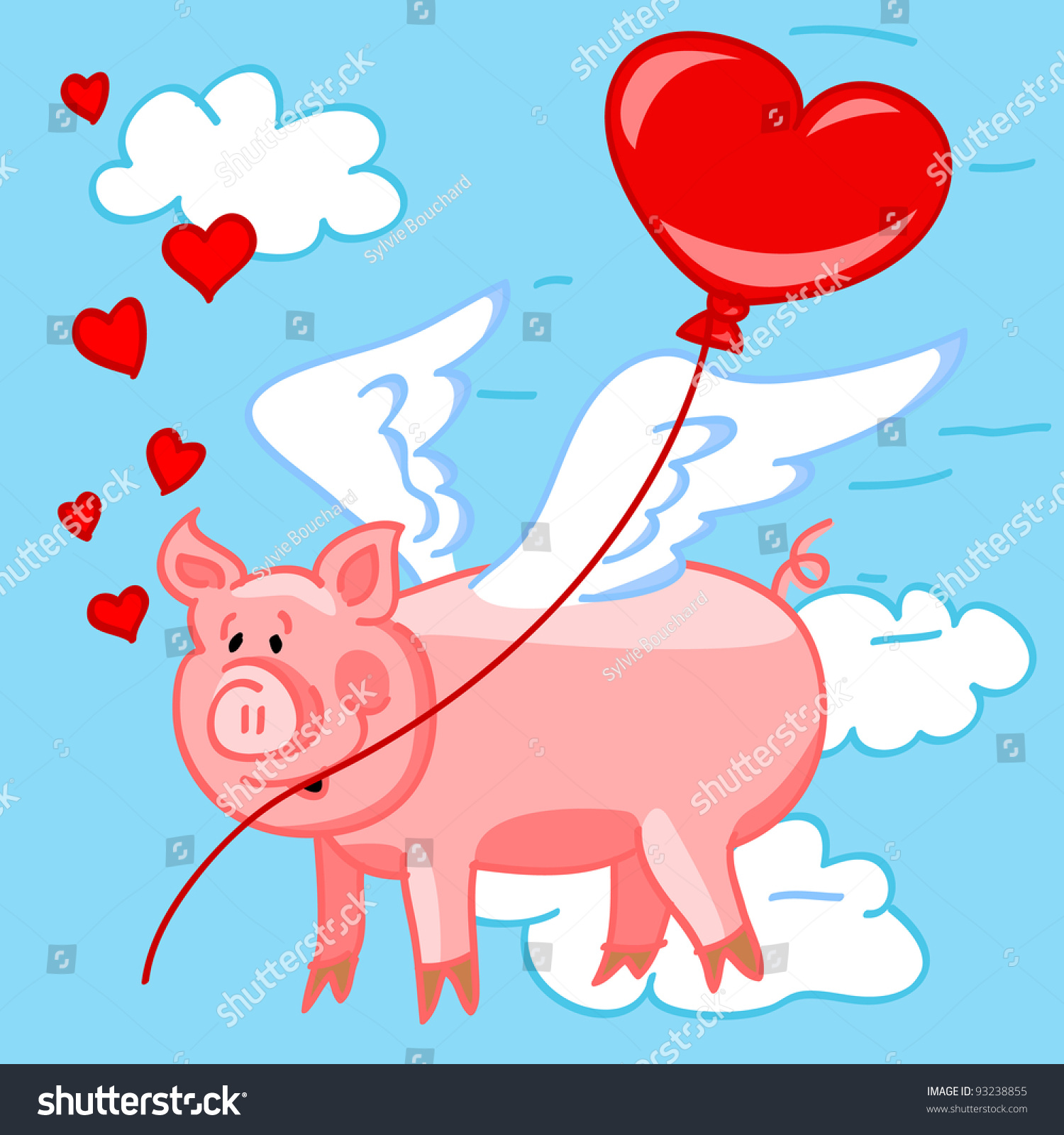 cute and fun cartoon of a flying pig in love delivering a