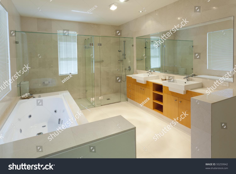 Modern Marble Bathroom Modern Marble Bathroom With Twin Sinks Shower And Bath Tub Stock