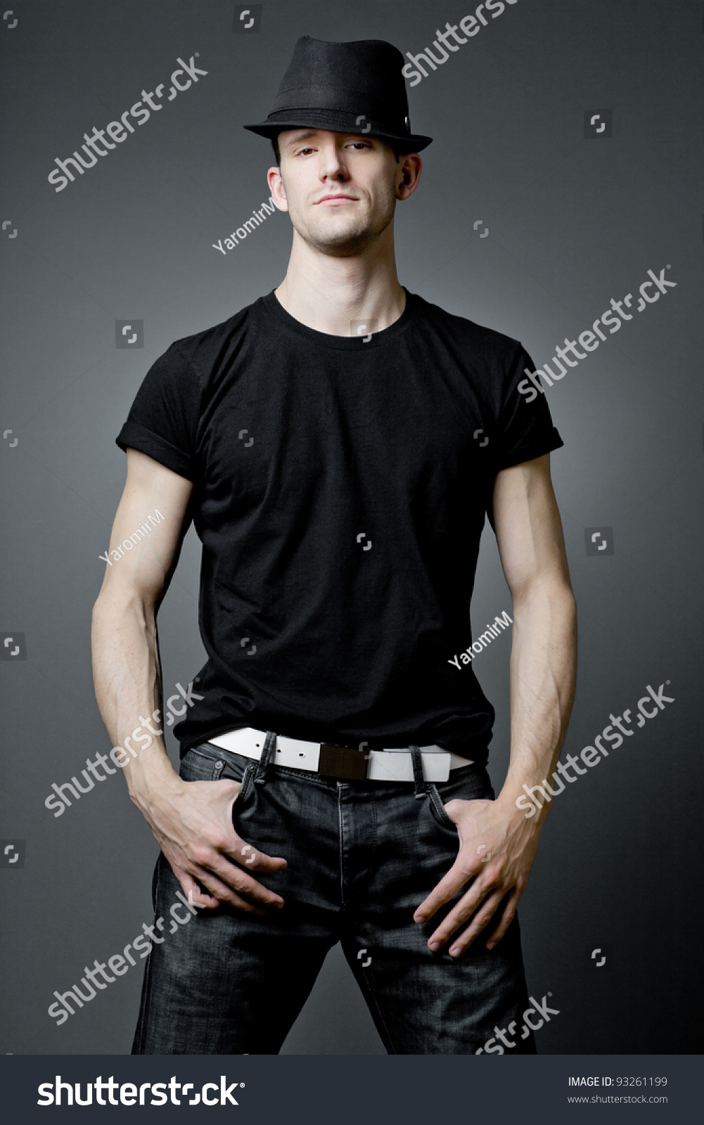 Black t shirt guy - Young Handsome Guy Posing In Black T Shirt