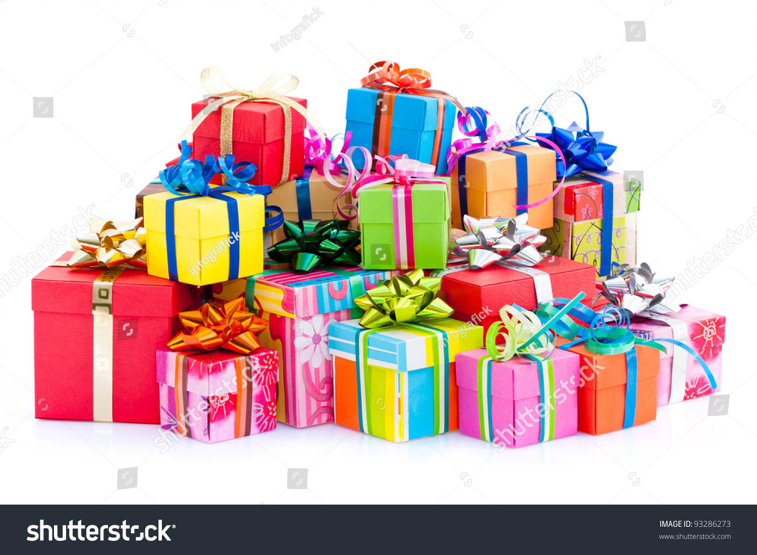 Pile colorful gifts box on white stock photo