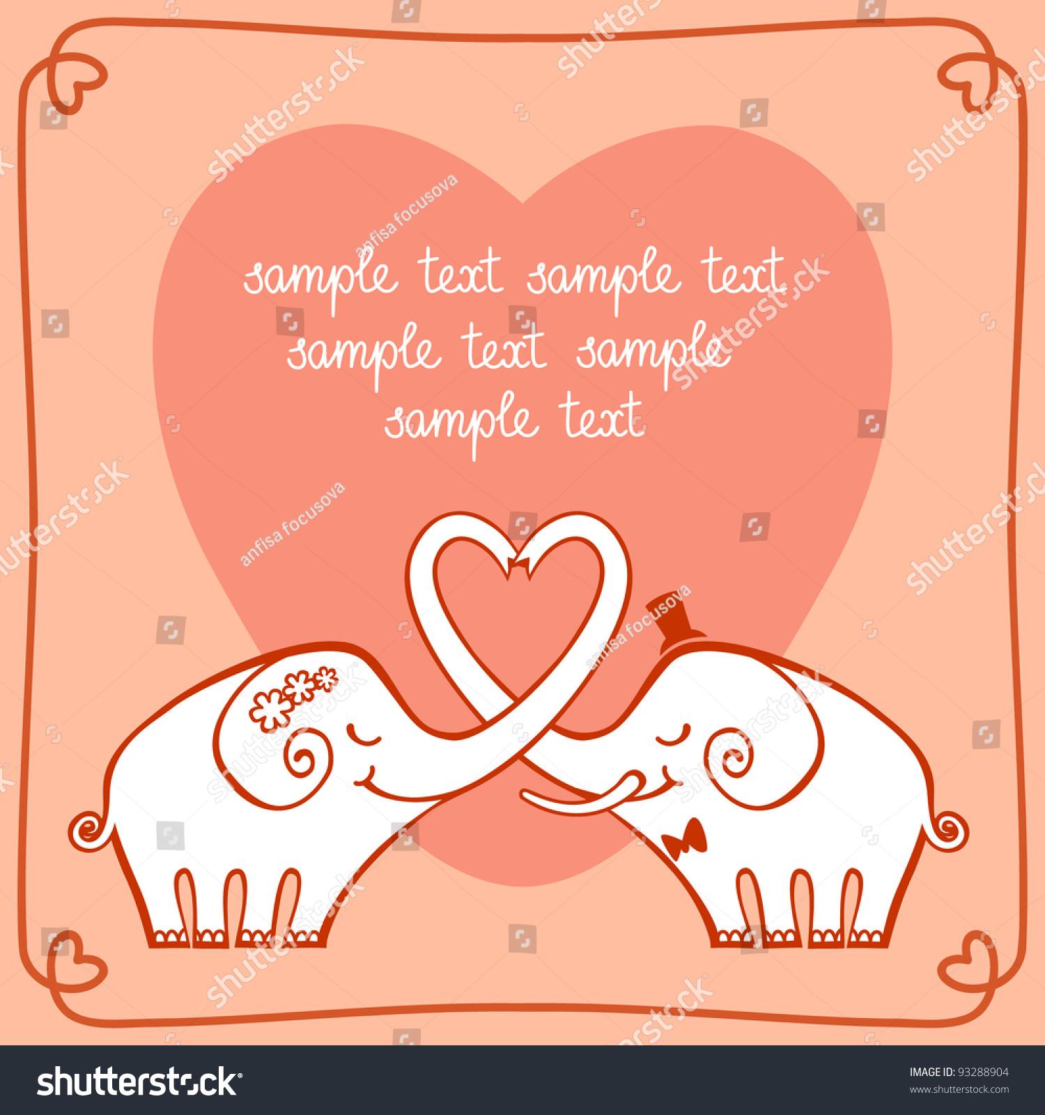 Vector Wedding Invitation Greeting Card Valentines Vector – Elephant Valentines Card