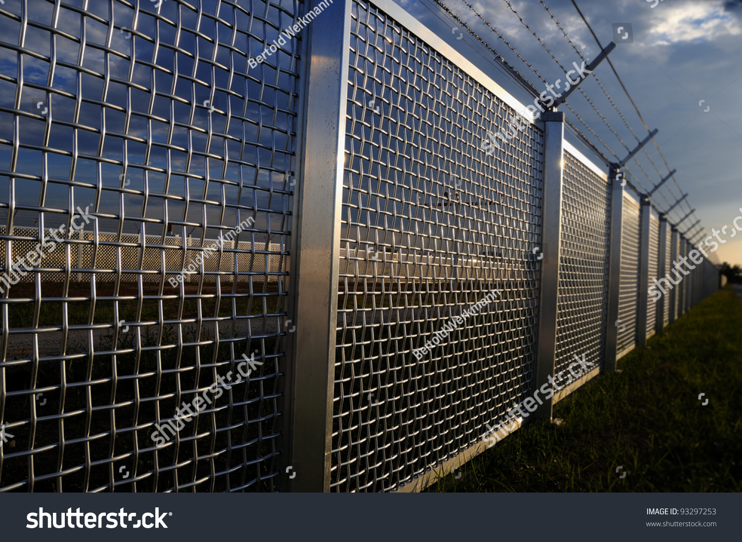 metal fence part metal grid fence stock photo edit now 93297253