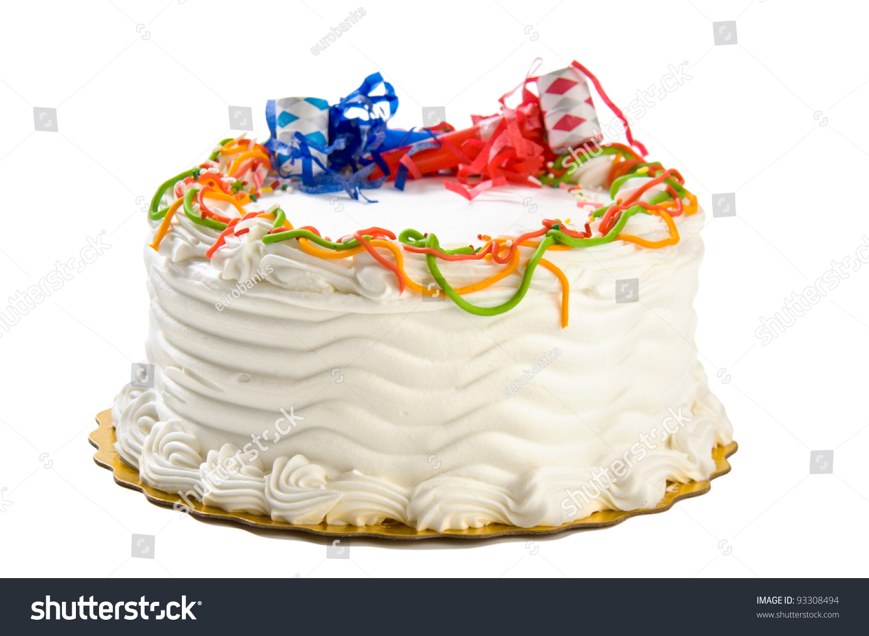 Birthday Cake Isolated On White Stock Photo 93308494