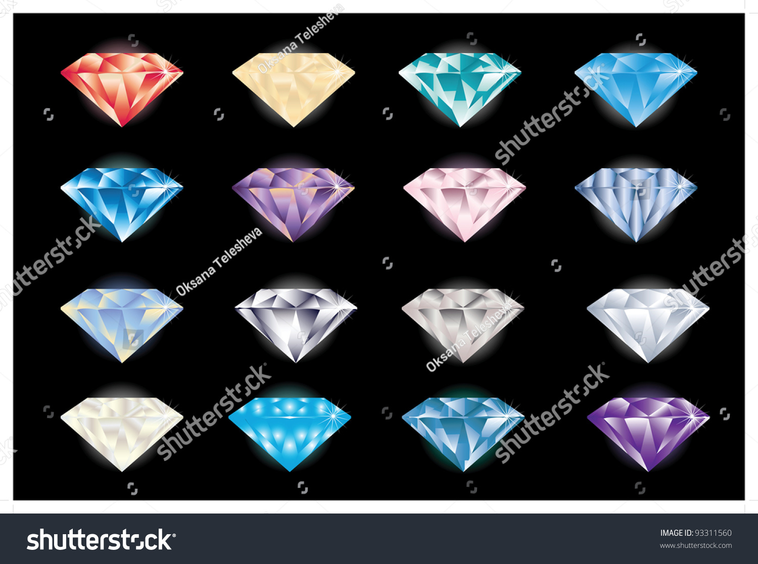 Vector Illustration Diamonds Different Colors Stock Vector ...