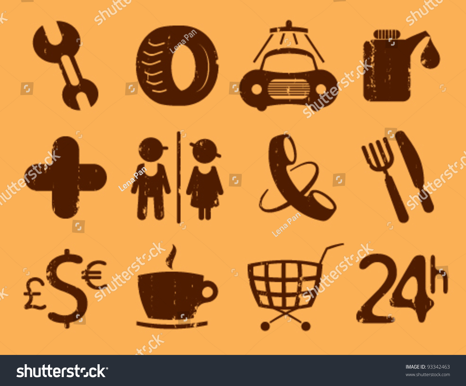 Map Gps And Waypoint Icons Vintage Style Stock Vector Illustration 93342463 Shutterstock