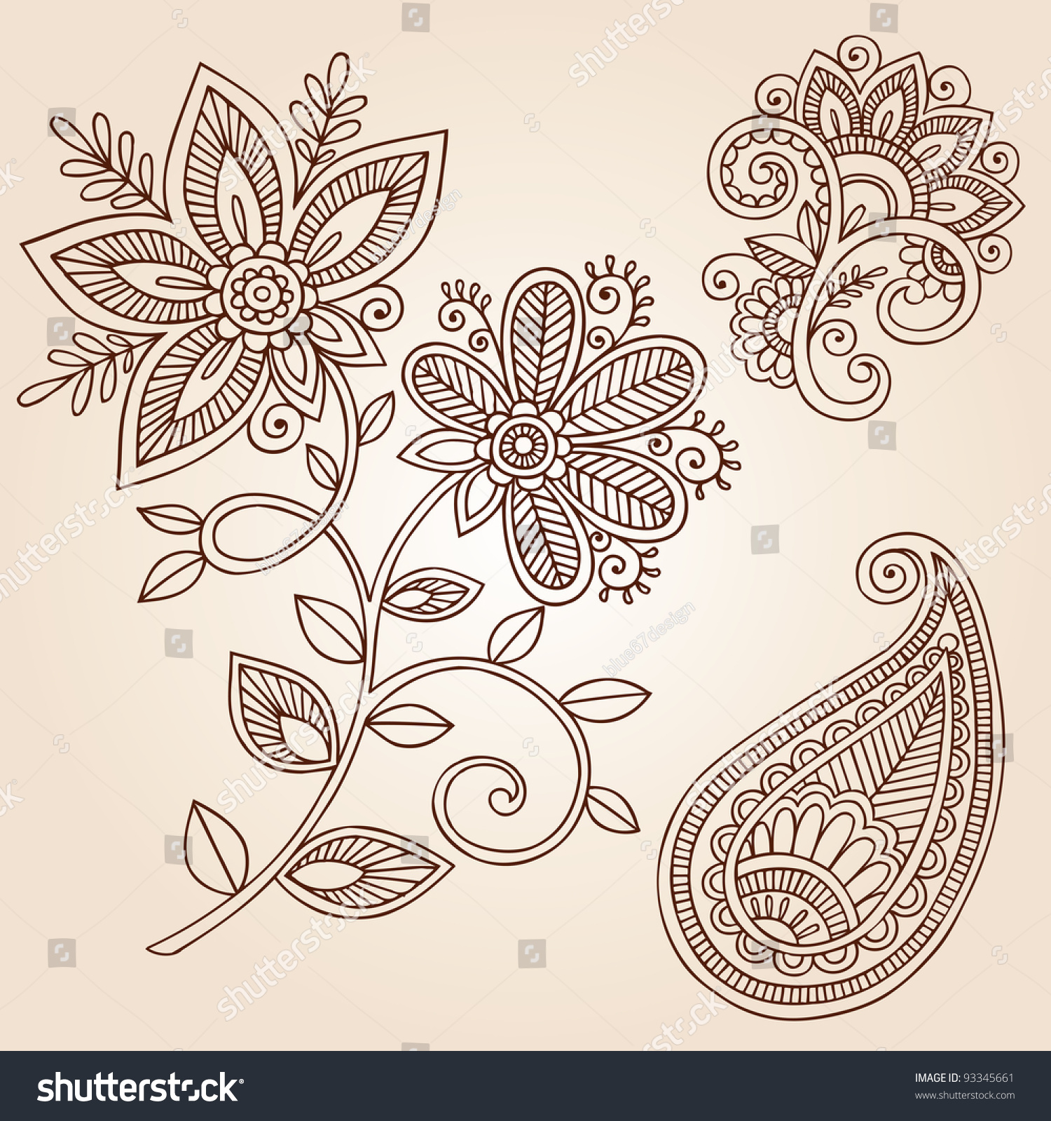 Henna Mehndi Flower Doodles Abstract Floral Stock Vector