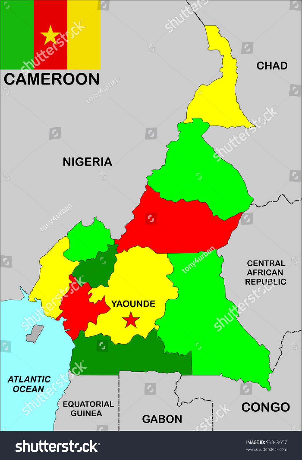 Very Big Size Cameroon Political Map Stock Illustration 93349657