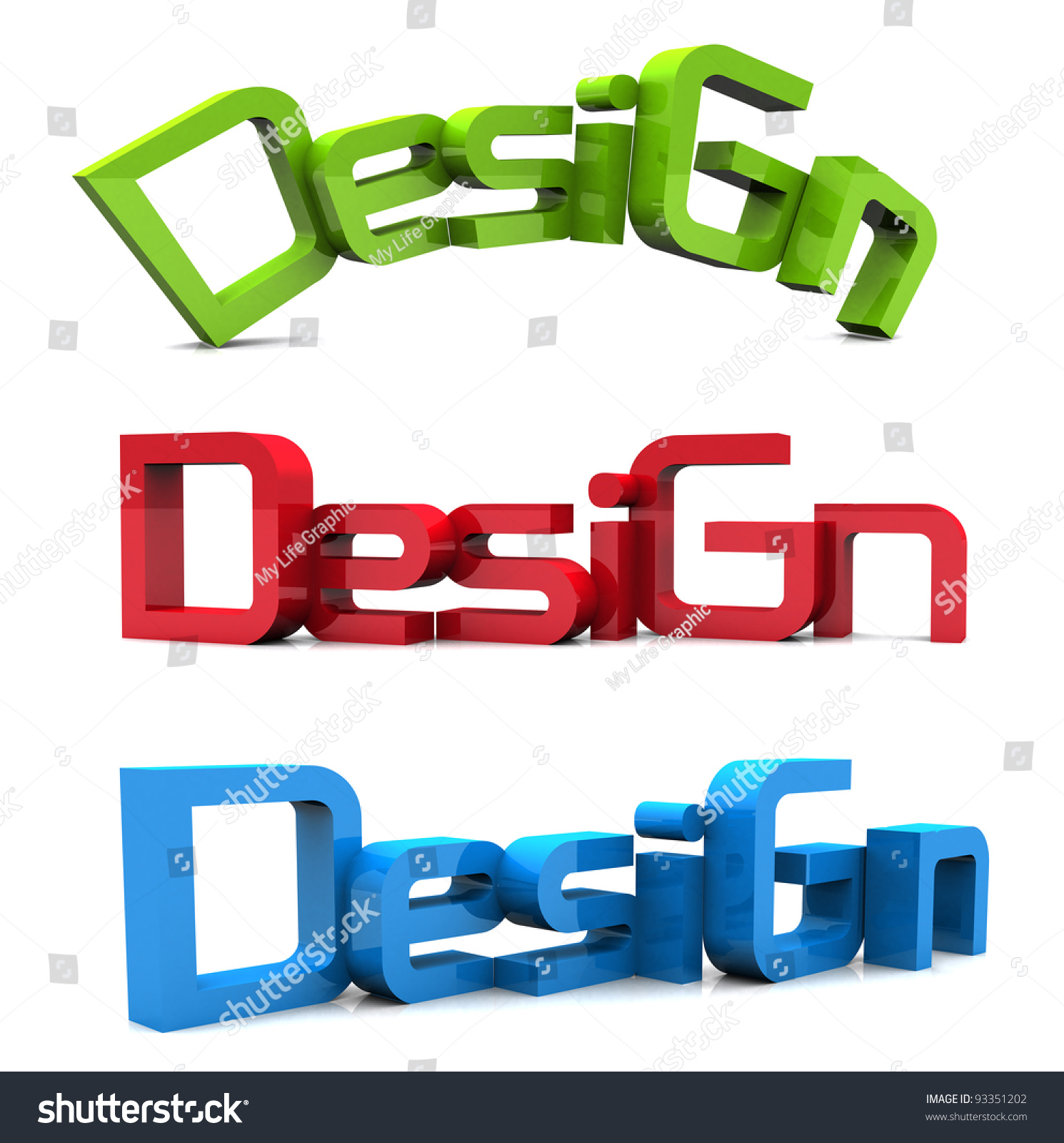 Design Text 3d Isolated Over White Background. Red Green