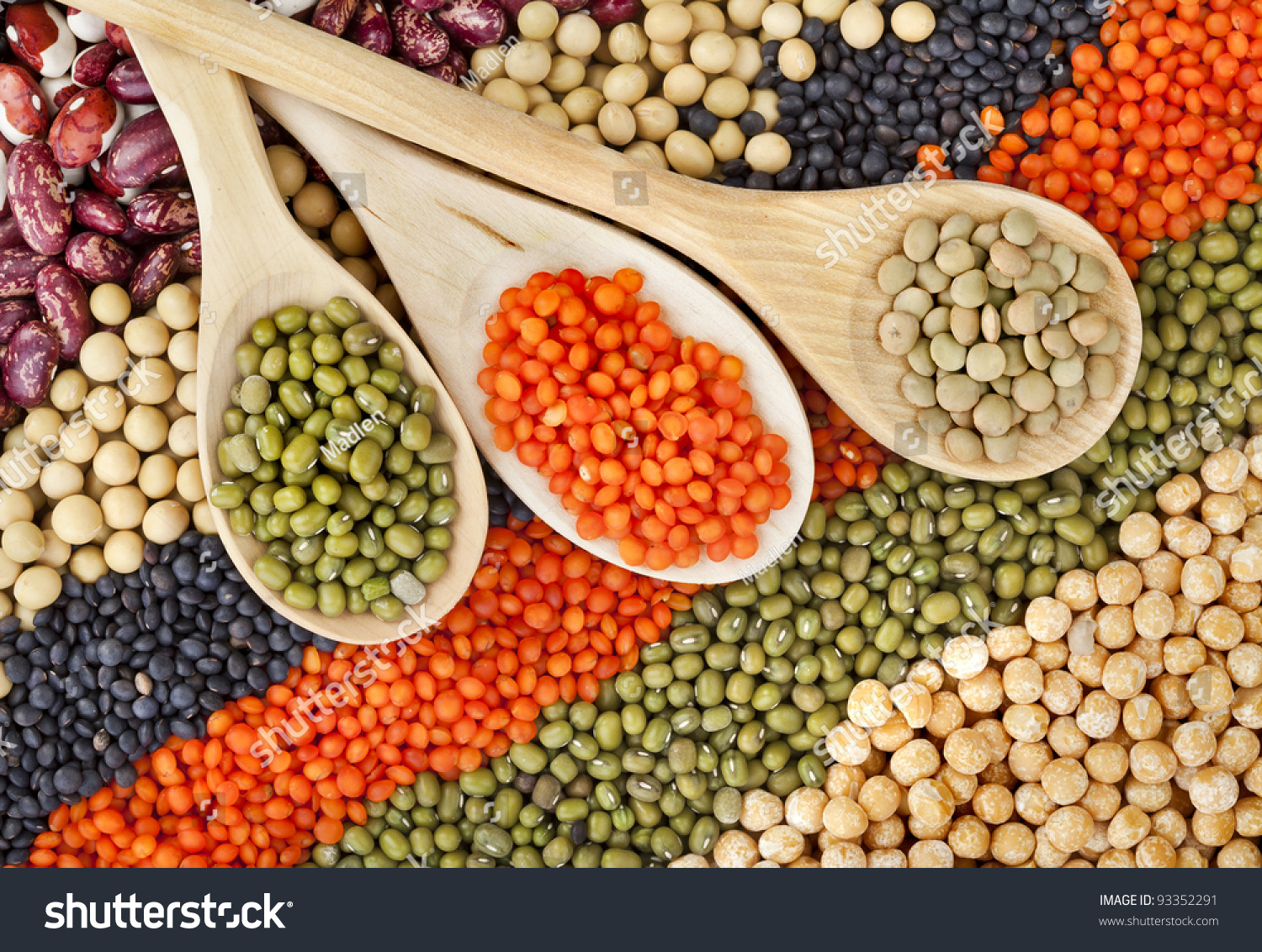 Lentils, Beans, Peas, Soybeans, Legumes With Spoons ...