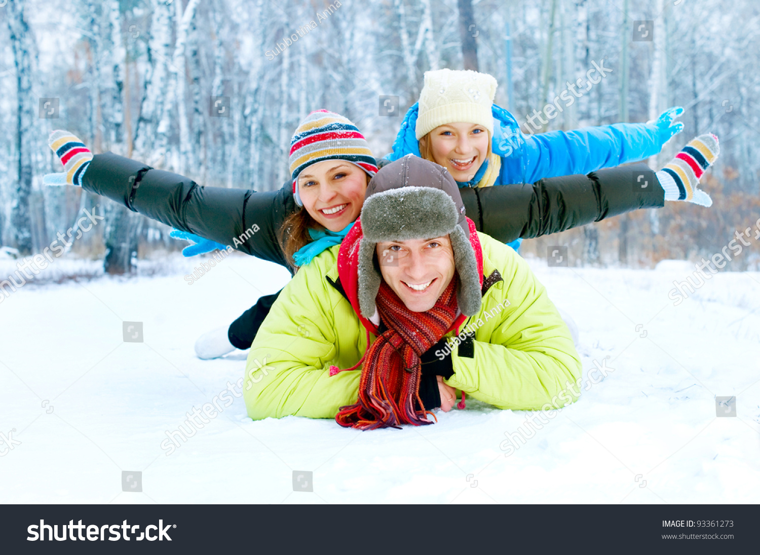 Happy family outdoors snowwinter vacations stock photo for Best family winter vacations