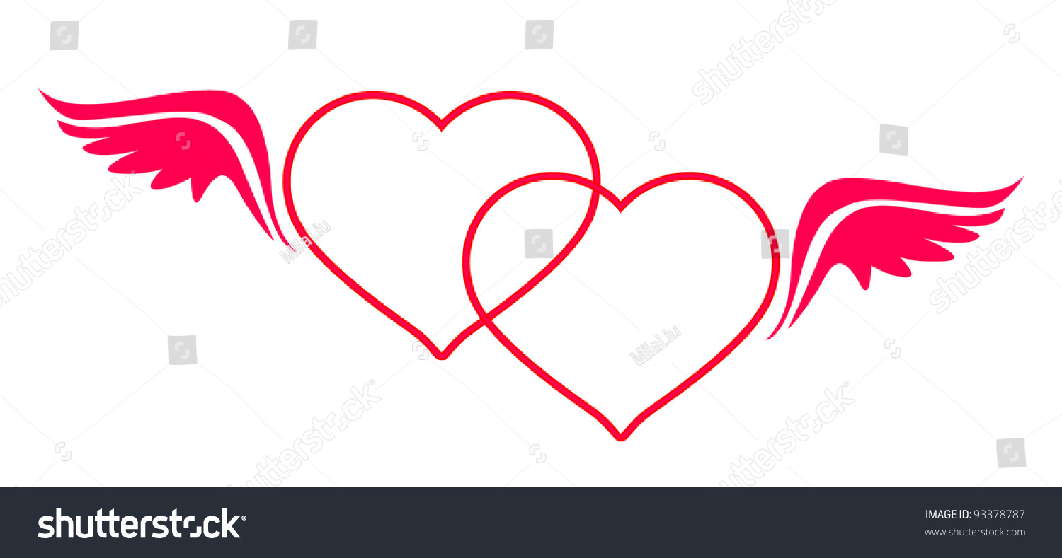 Two Heart Frame Wings Loving Couple Stock Illustration 93378787 ...