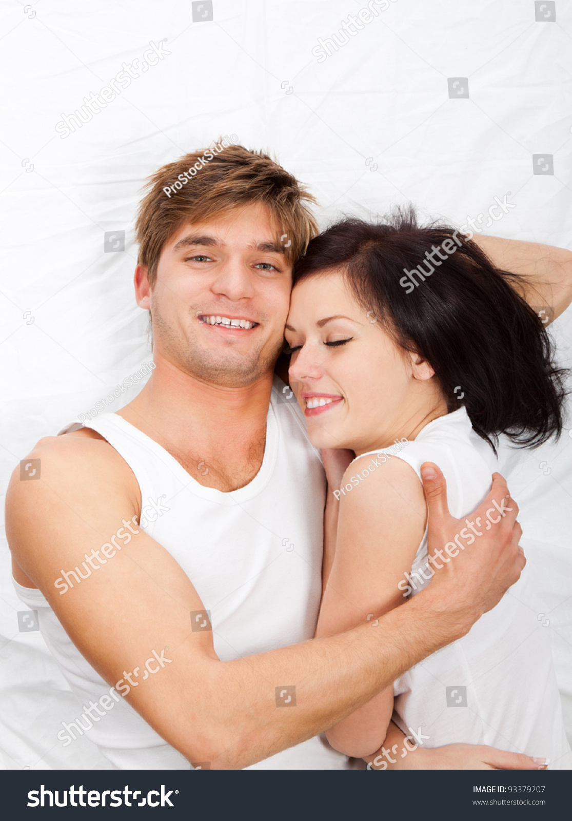Lovely Couple In Bed Lying In Bedroom Young Lovely Couple Lying Bed Hug Stock Photo 93379207 Shutterstock