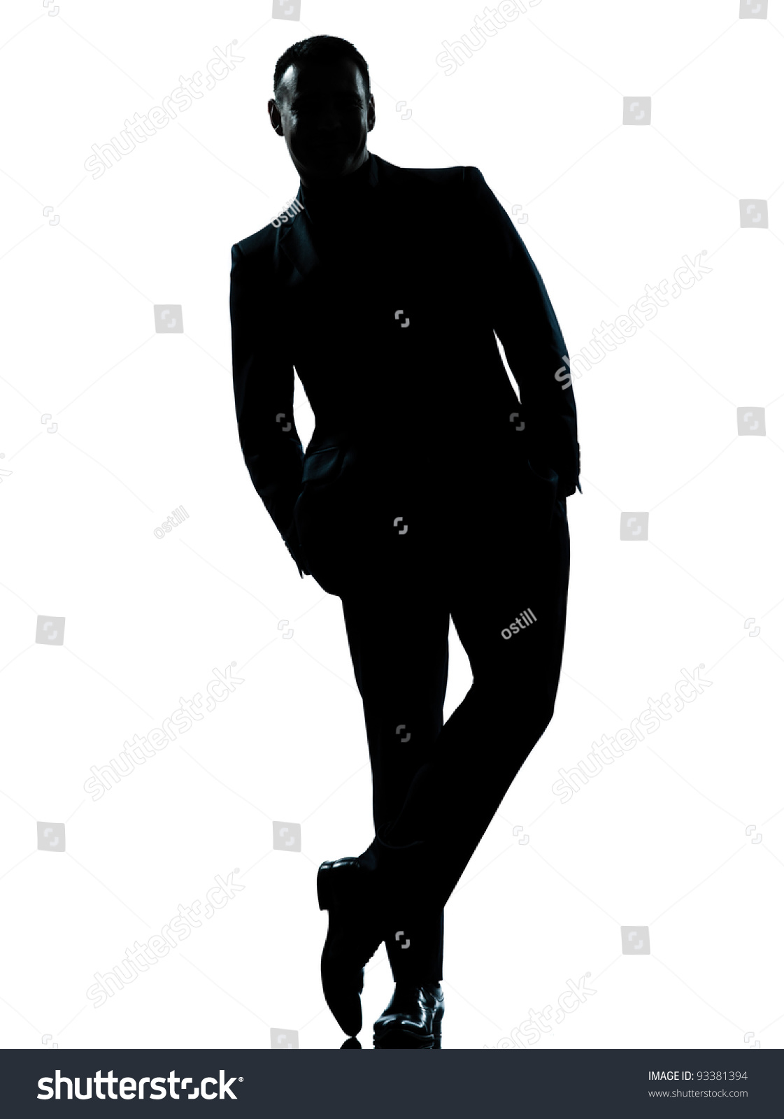 One Caucasian Business Man Silhouette Standing Full Length ...