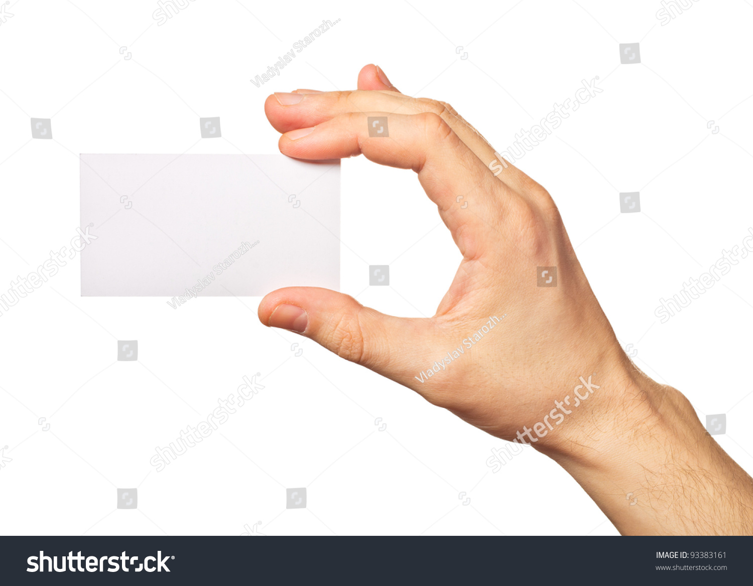 Business Card Hand On White Background Stock Photo 93383161 ...