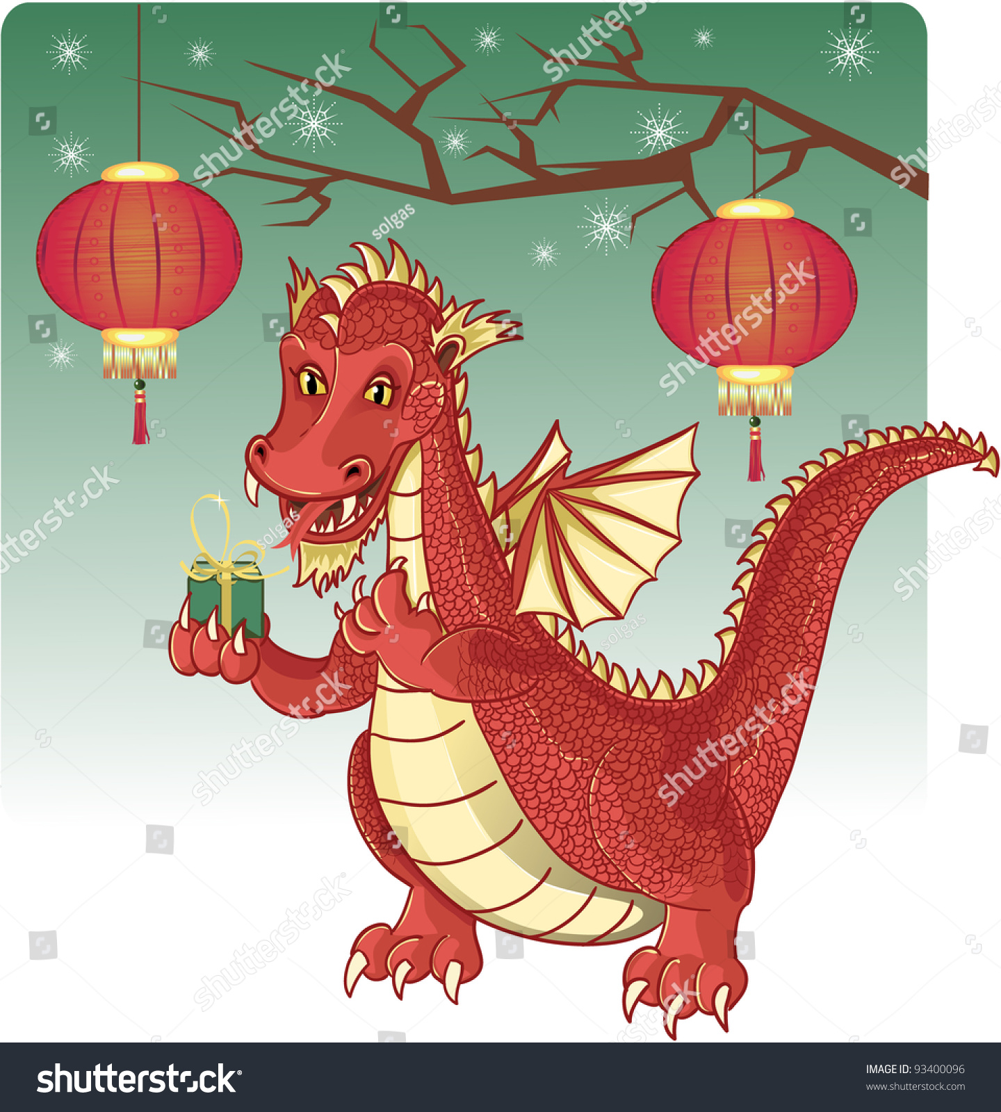 Cute Red Chinese Dragon With A New Year Gift Stock Vector ...