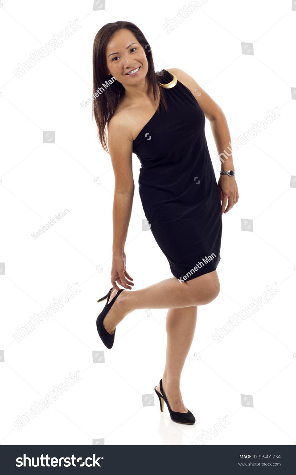 Japanese woman putting on tight brack bodysuit - 2 8
