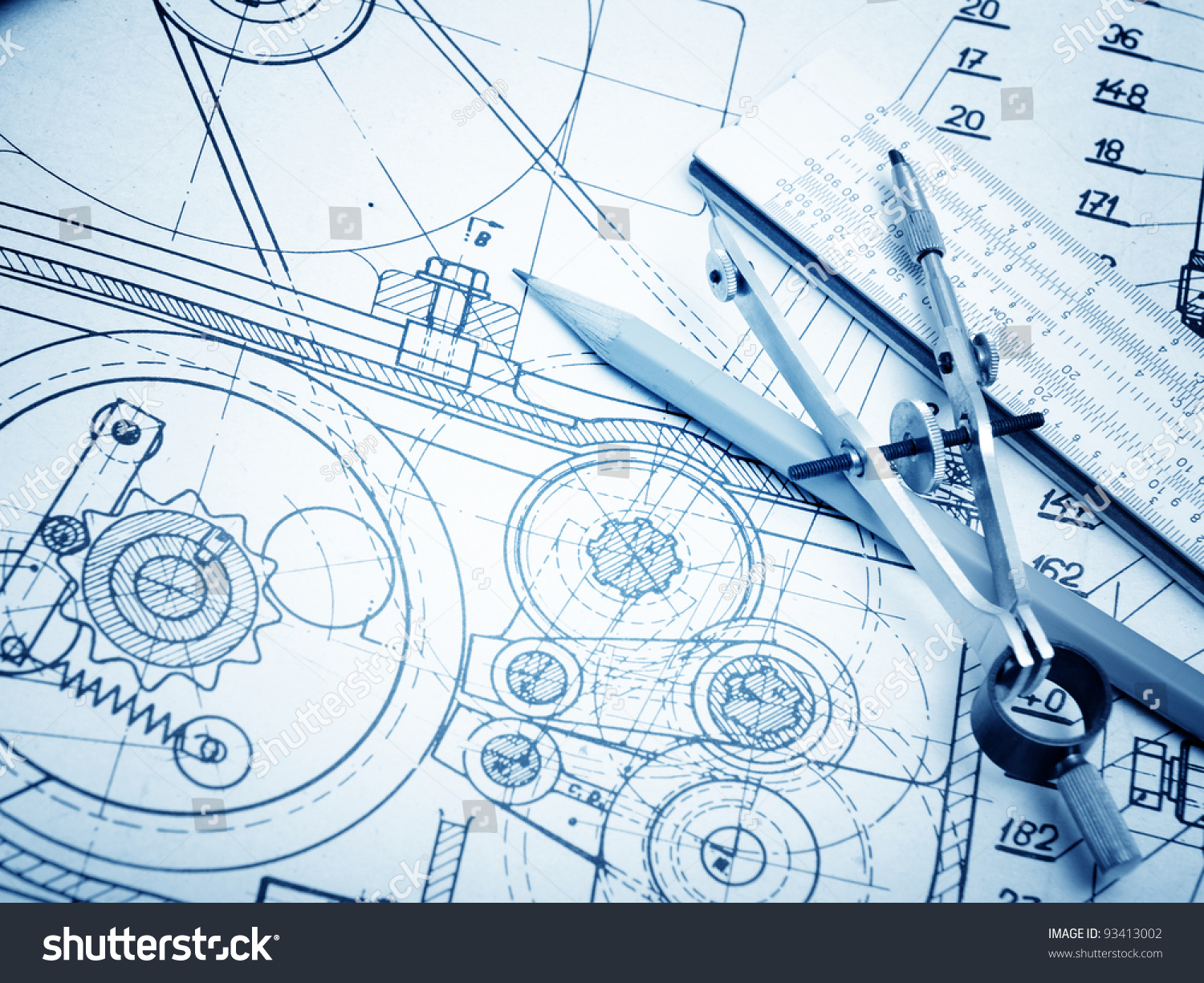 industrial drawing detail several drawing tools stock photo