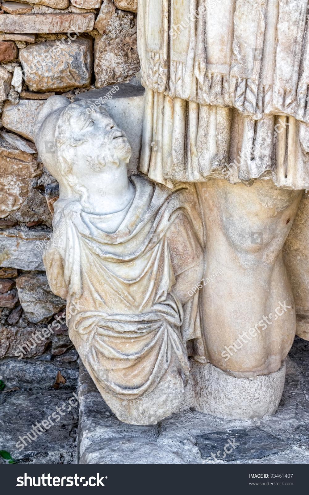 Remains stone sculpture aphrodisias turkey build stock