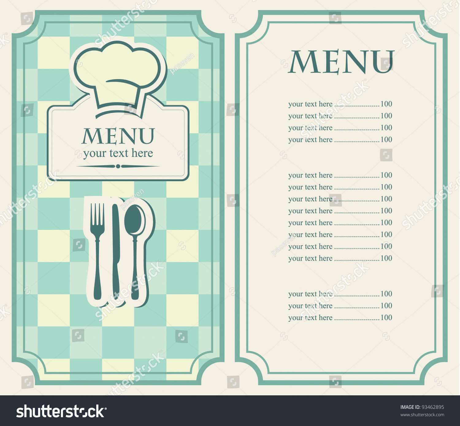 easy menu templates free - green menu for a cafe or restaurant stock vector