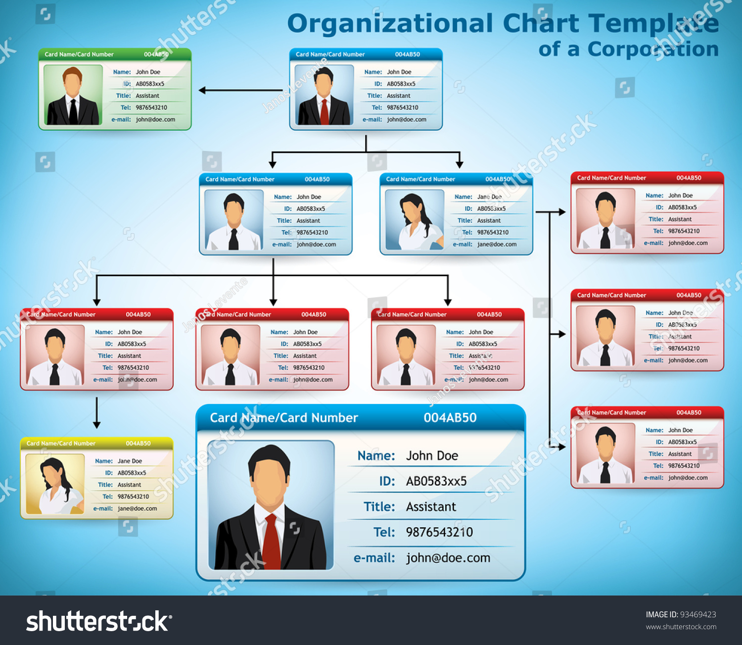company structure diagram with personalized cards for employees    save to a lightbox