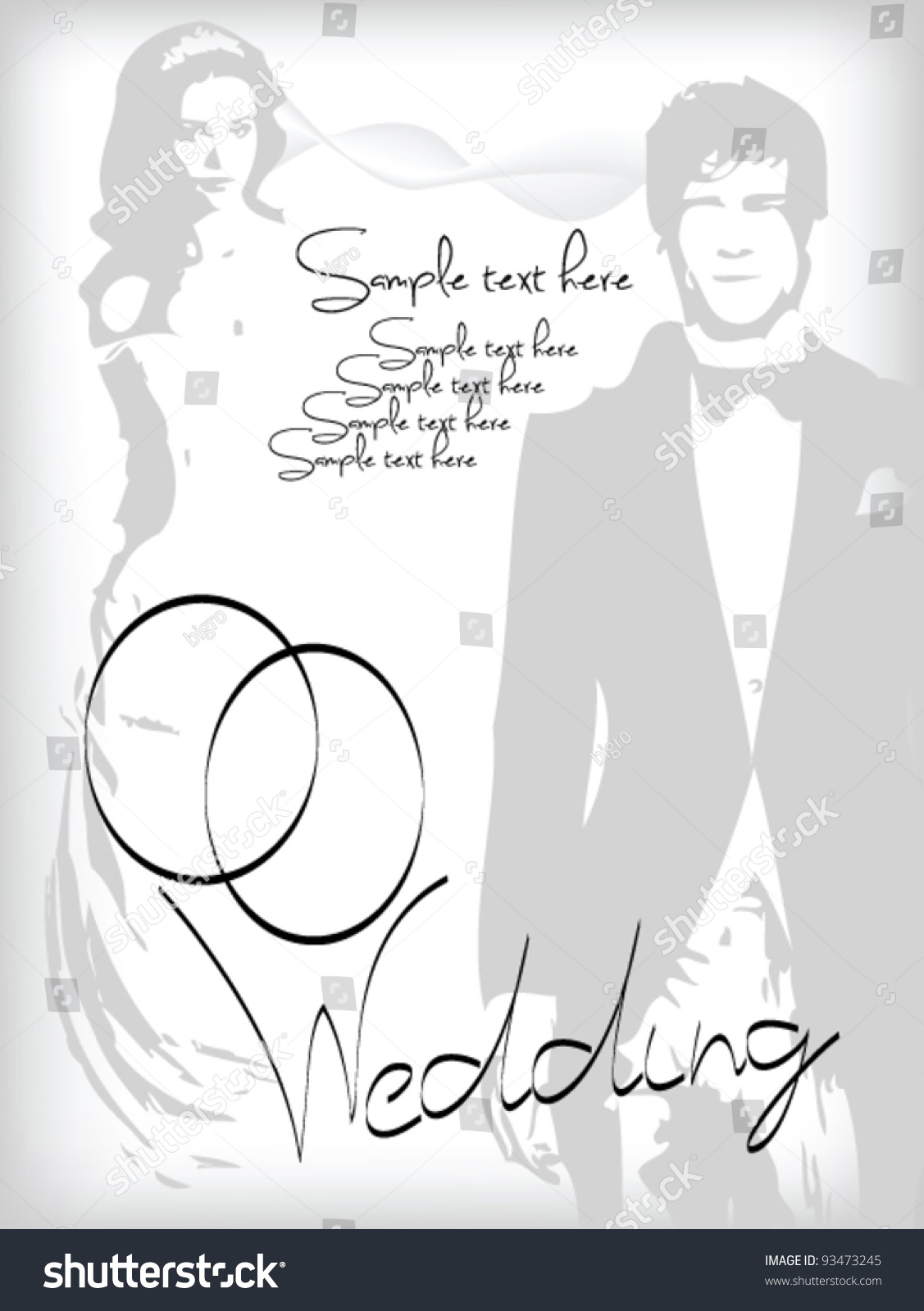 Wedding Invitation Vector Bride Groom Add Stock Vector 93473245 ...