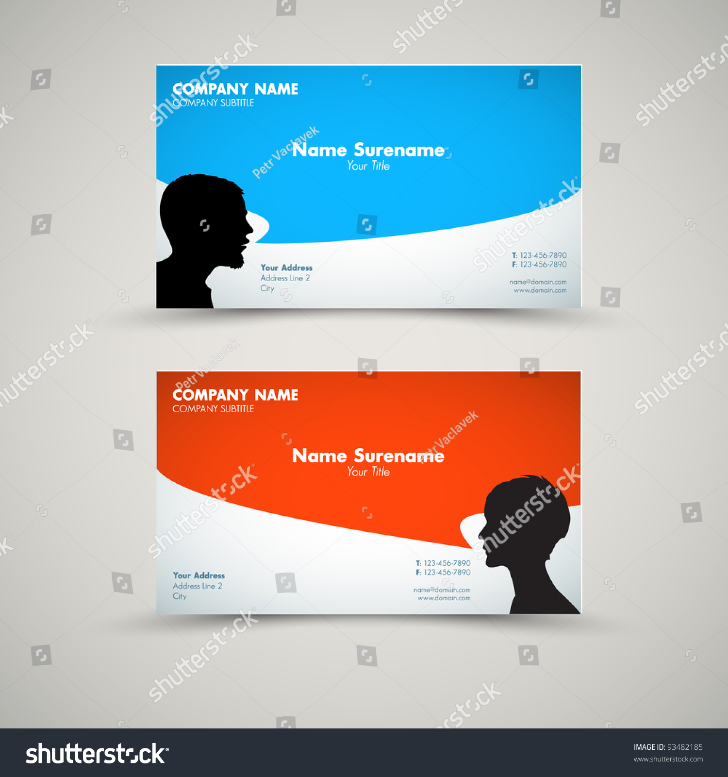 vector set modern business card templates stock vector