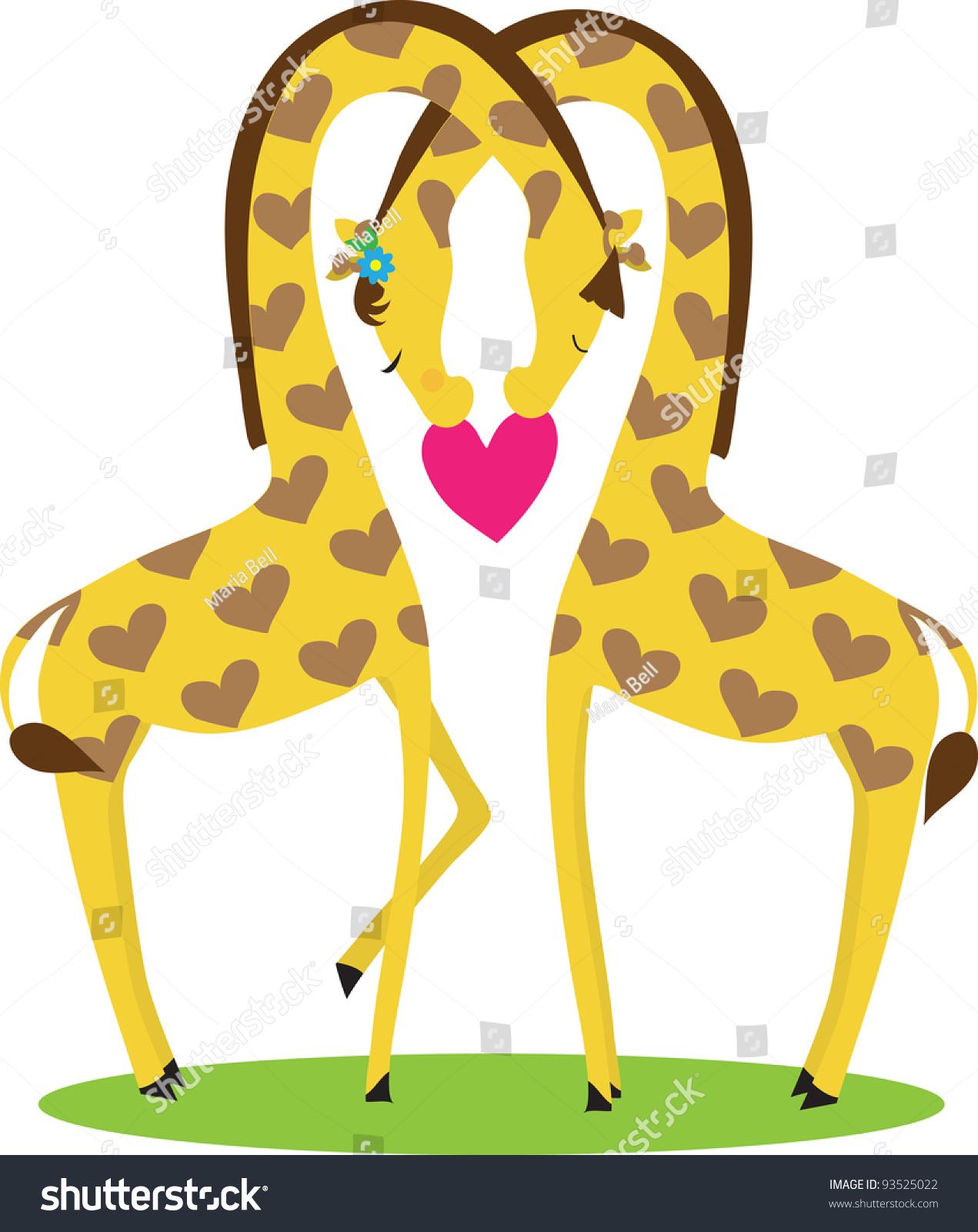 giraffe love two giraffes male female stock vector 93525022