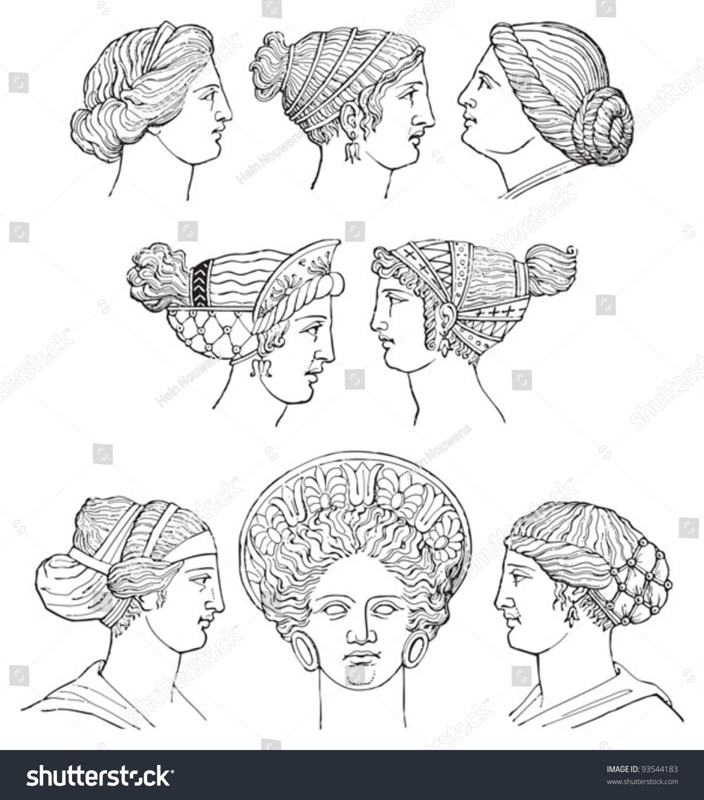 Ancient Greece Hair Dressing Greek Sculpture Stock Vector
