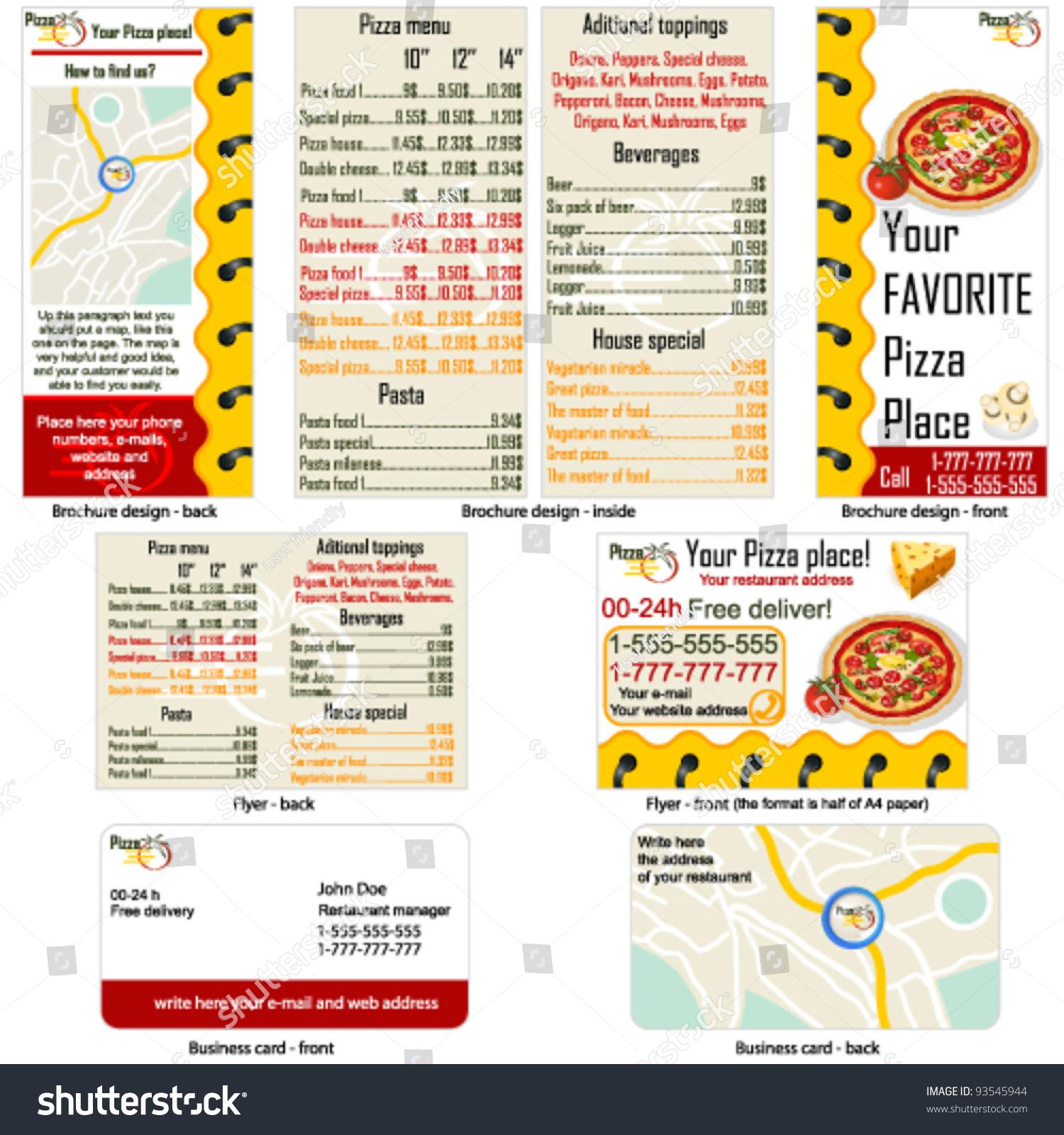 Pizza Restaurant Stationary Brochure Design Flyer Stock Vector