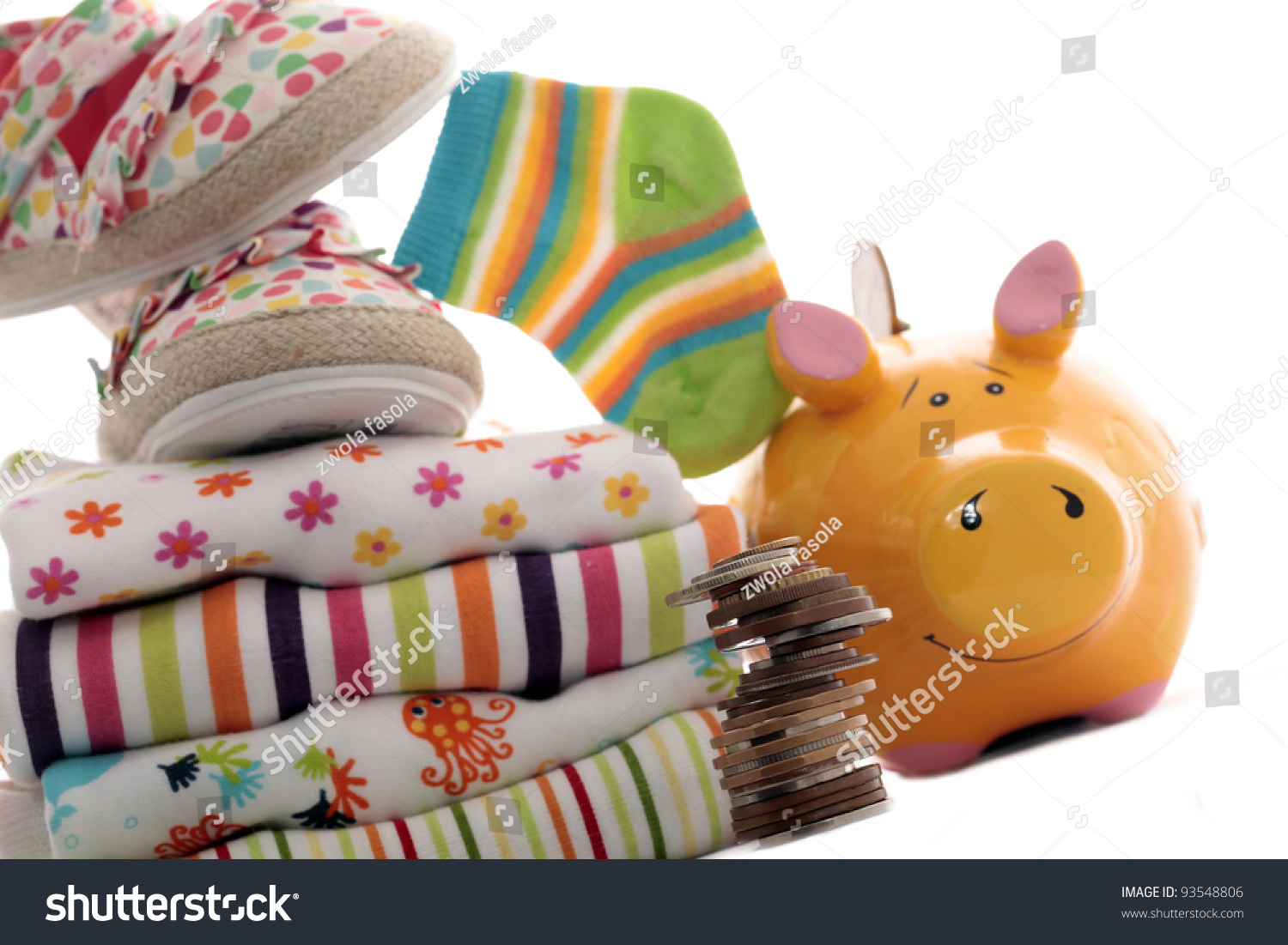 Clothing Babies Piggy Bank Stock Photo Edit Now 93548806