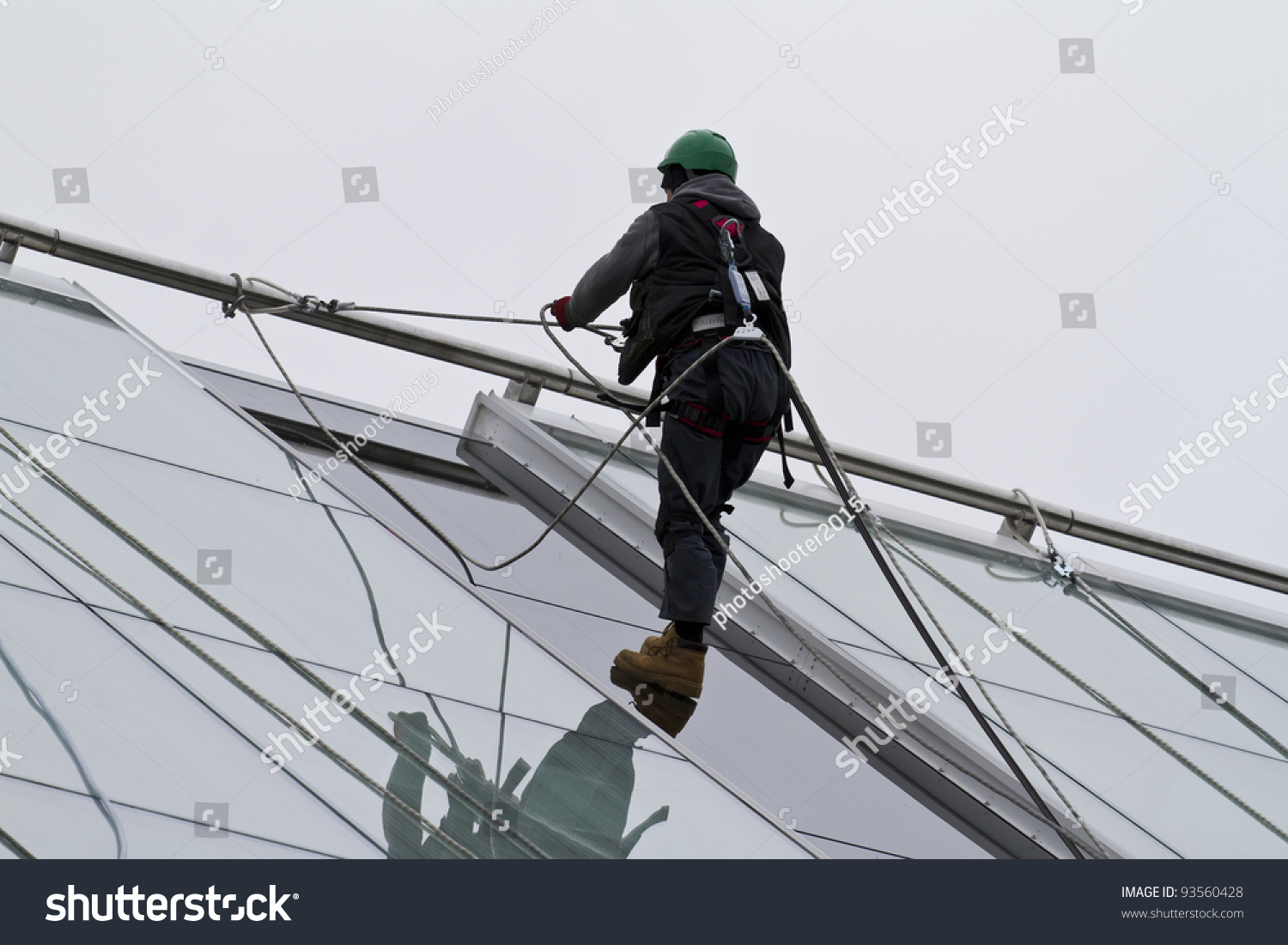 window washer on a highrise office building   safety work