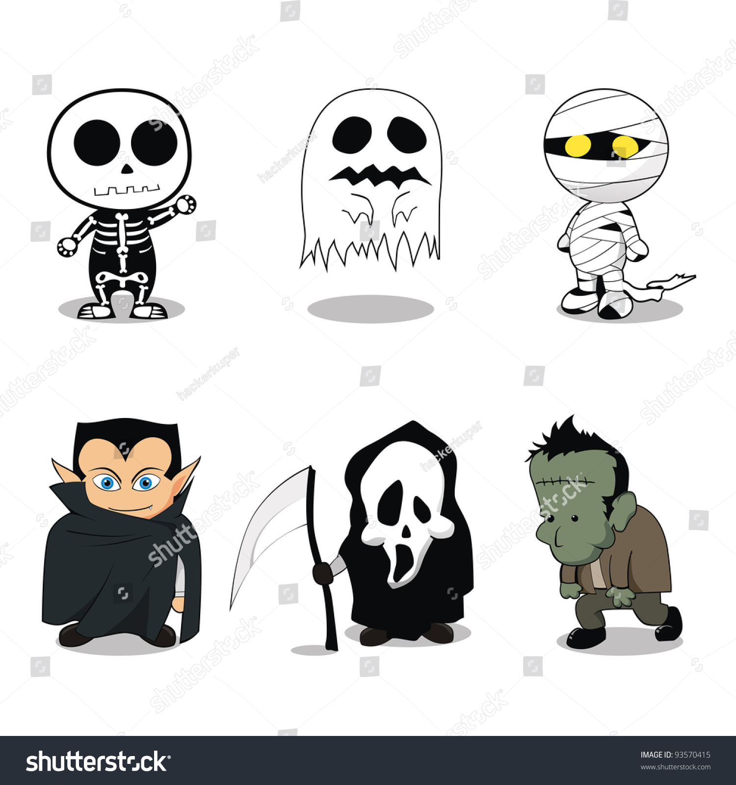 Cute Ghost Costumes Halloween Party Stock Vector 93570415 ...