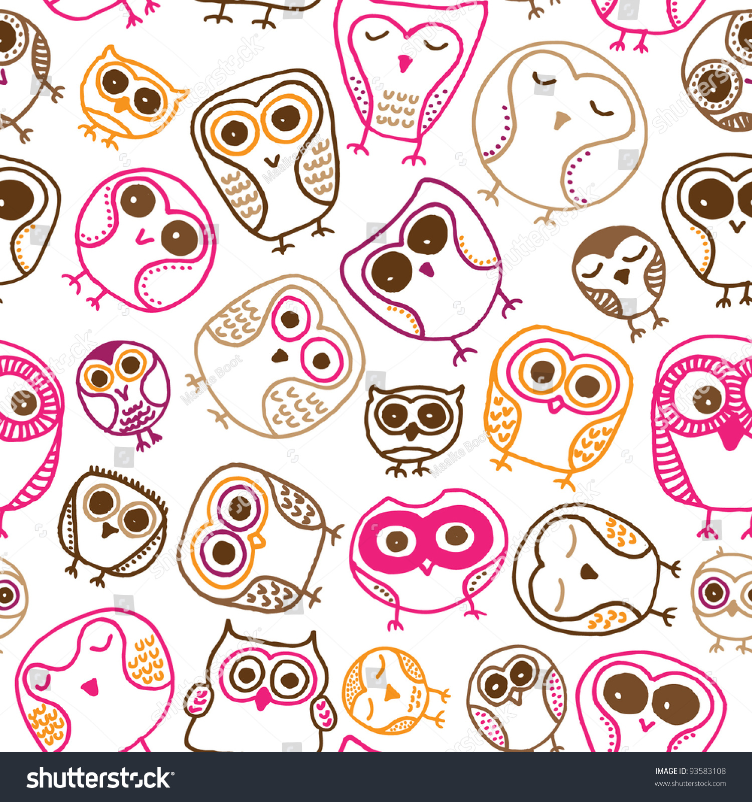 Seamless Fun Colorful Owl Doodle Background Pattern For ...