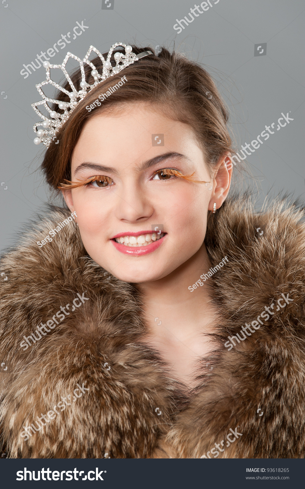 Fresh Teen Part - 48: Portrait Of Fresh Teen Girl Dressed In Real Fur And Tiara With Creative  Make-up