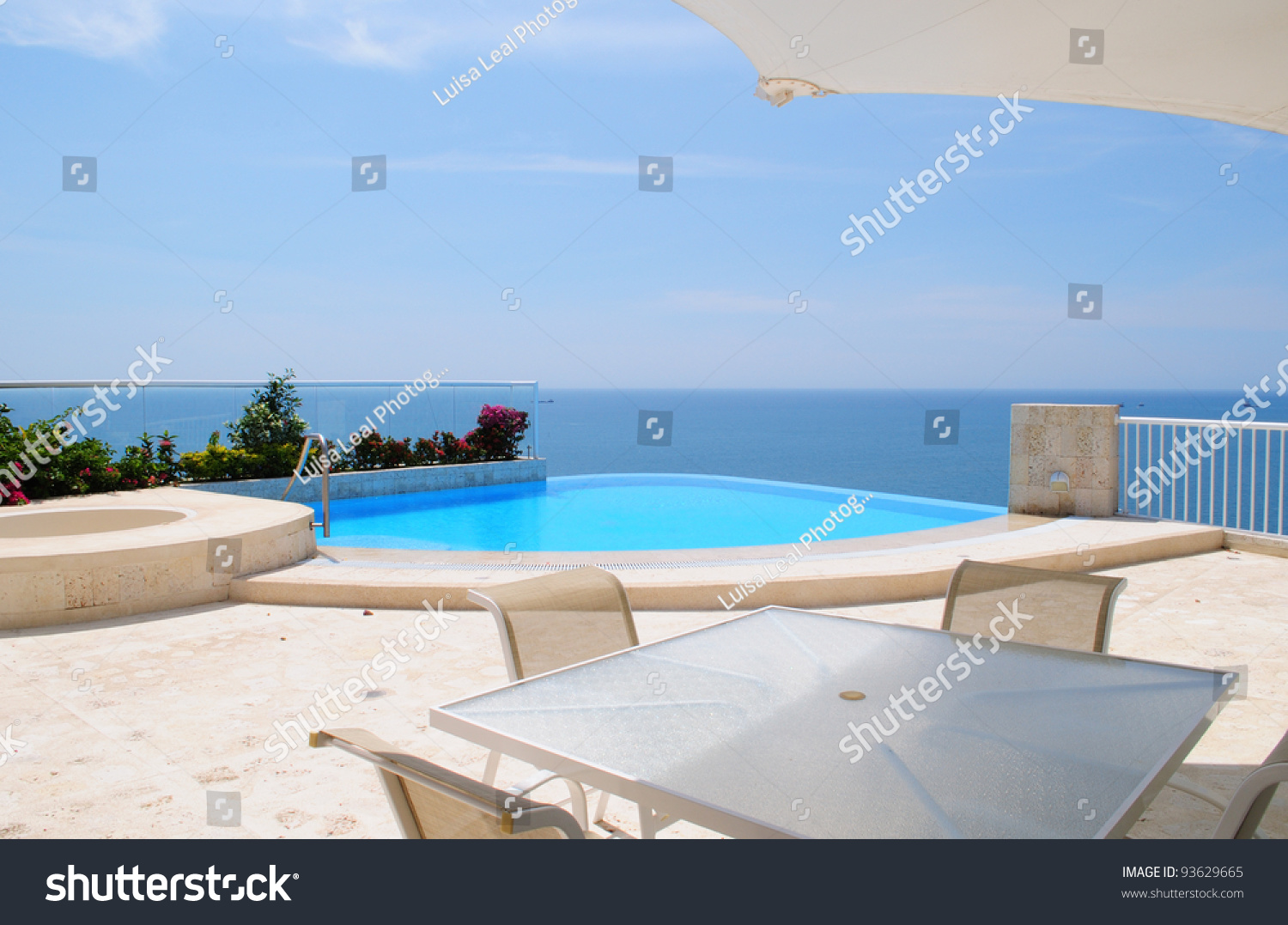 swimming pool with outdoor jacuzzi stock photo 93629665. Black Bedroom Furniture Sets. Home Design Ideas
