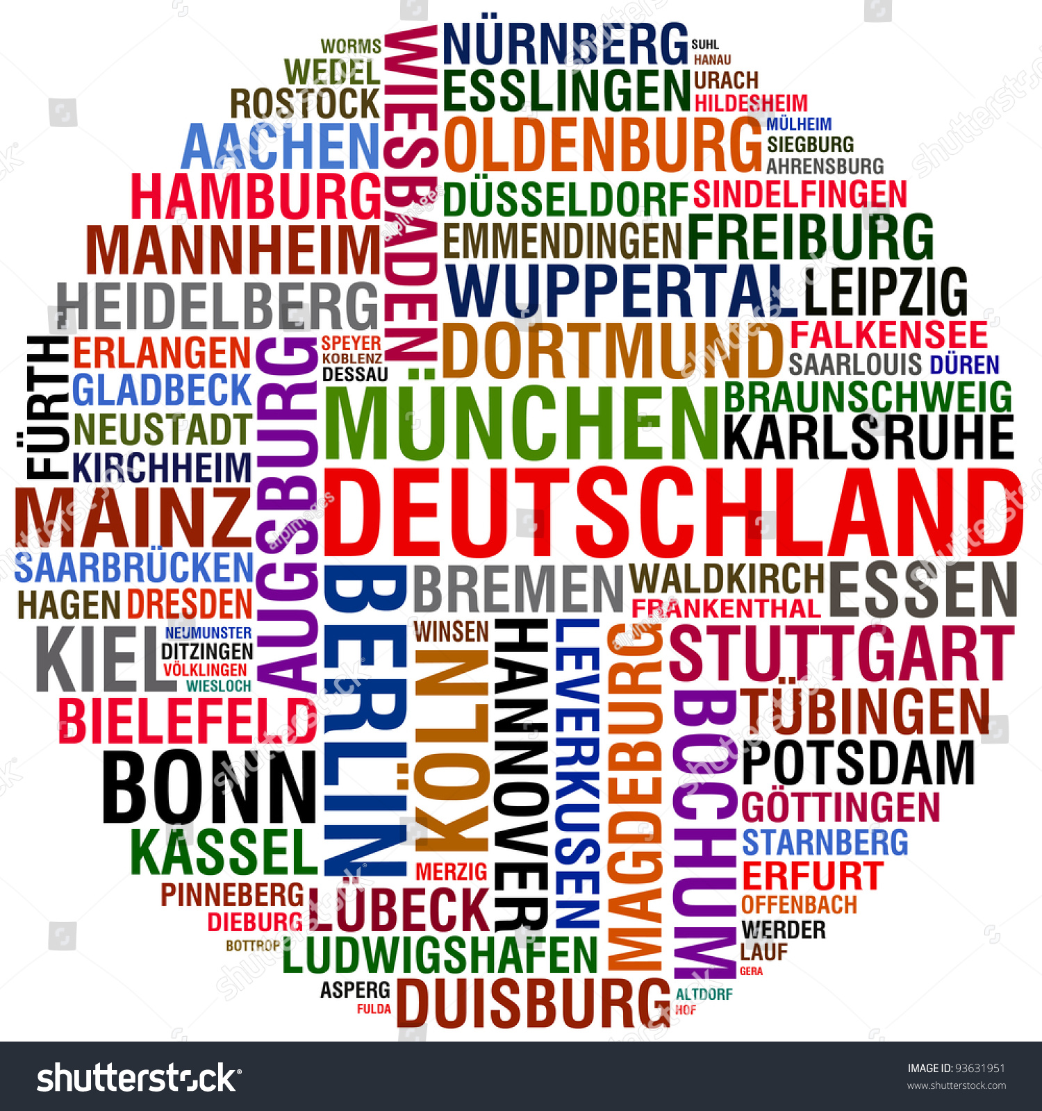 Deutschland Cities Stock Illustration 93631951 - Shutterstock