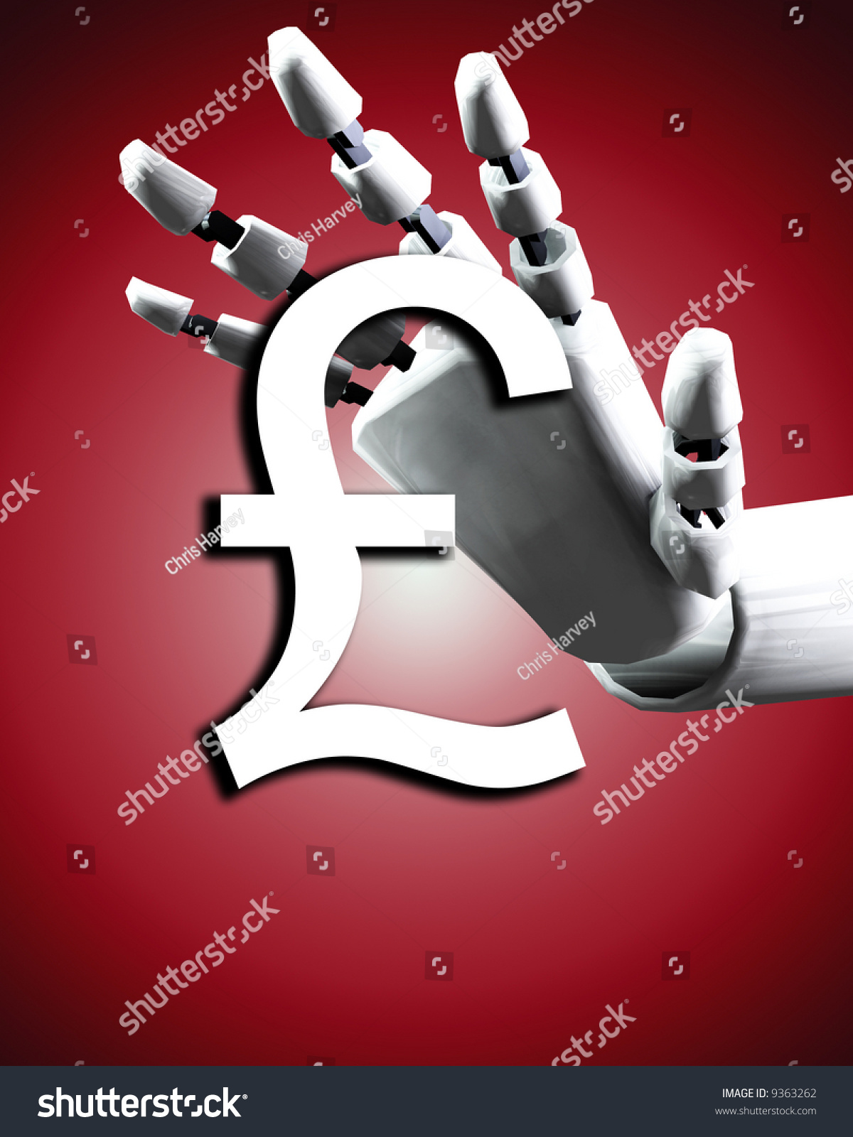 Conceptual Image Robot Hand Pound Would Stock Illustration 9363262