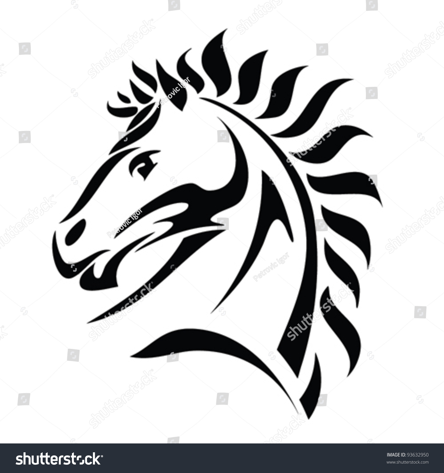Tribal horse head tattoo vector illustration stock vector for Horse head tattoo designs
